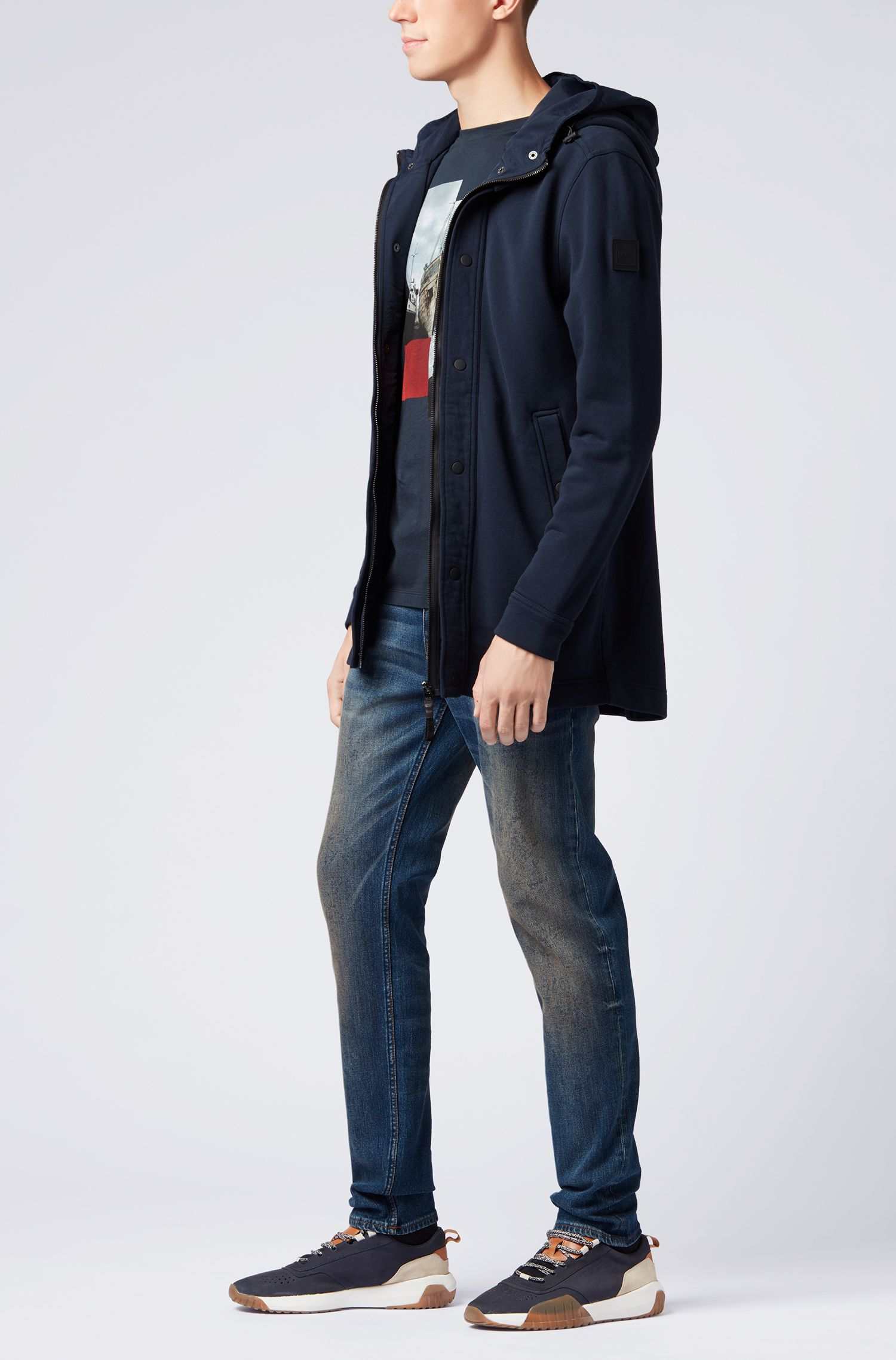 Giacca relaxed fit in french terry con doppio cappuccio, Blu scuro