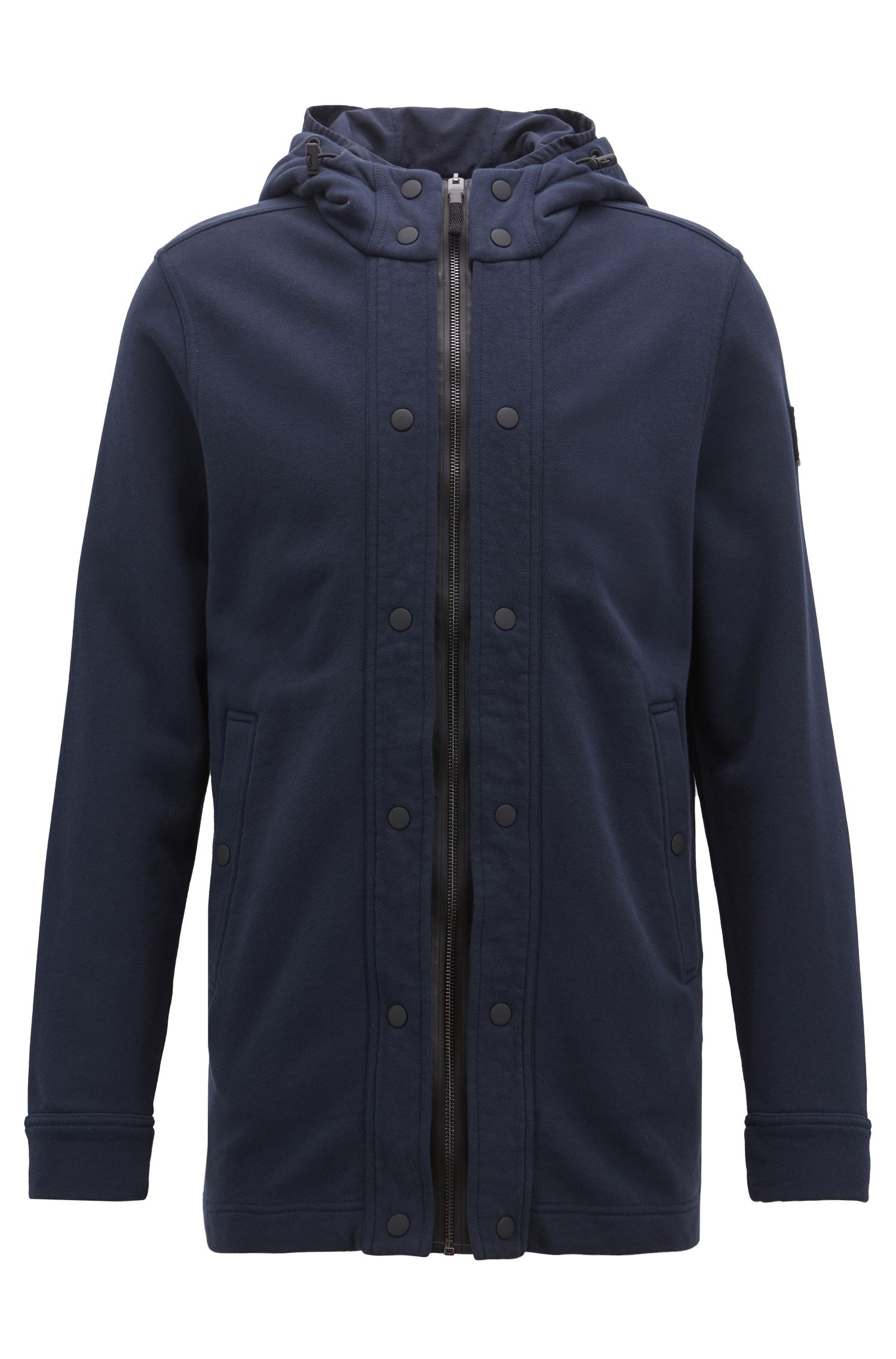 Relaxed-fit jacket in French terry with double hood, Dark Blue