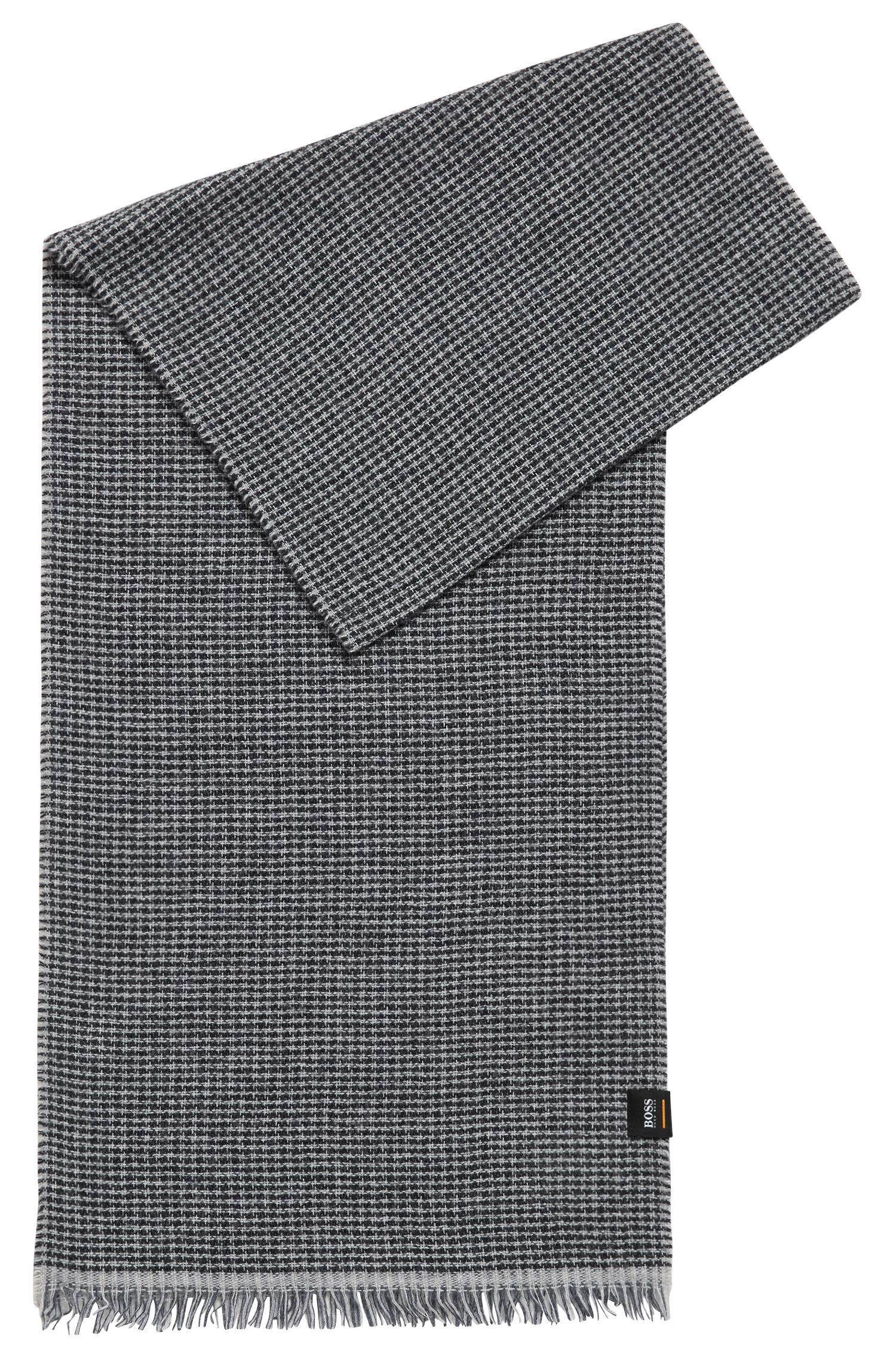 Houndstooth patterned scarf with a touch of cashmere, Black