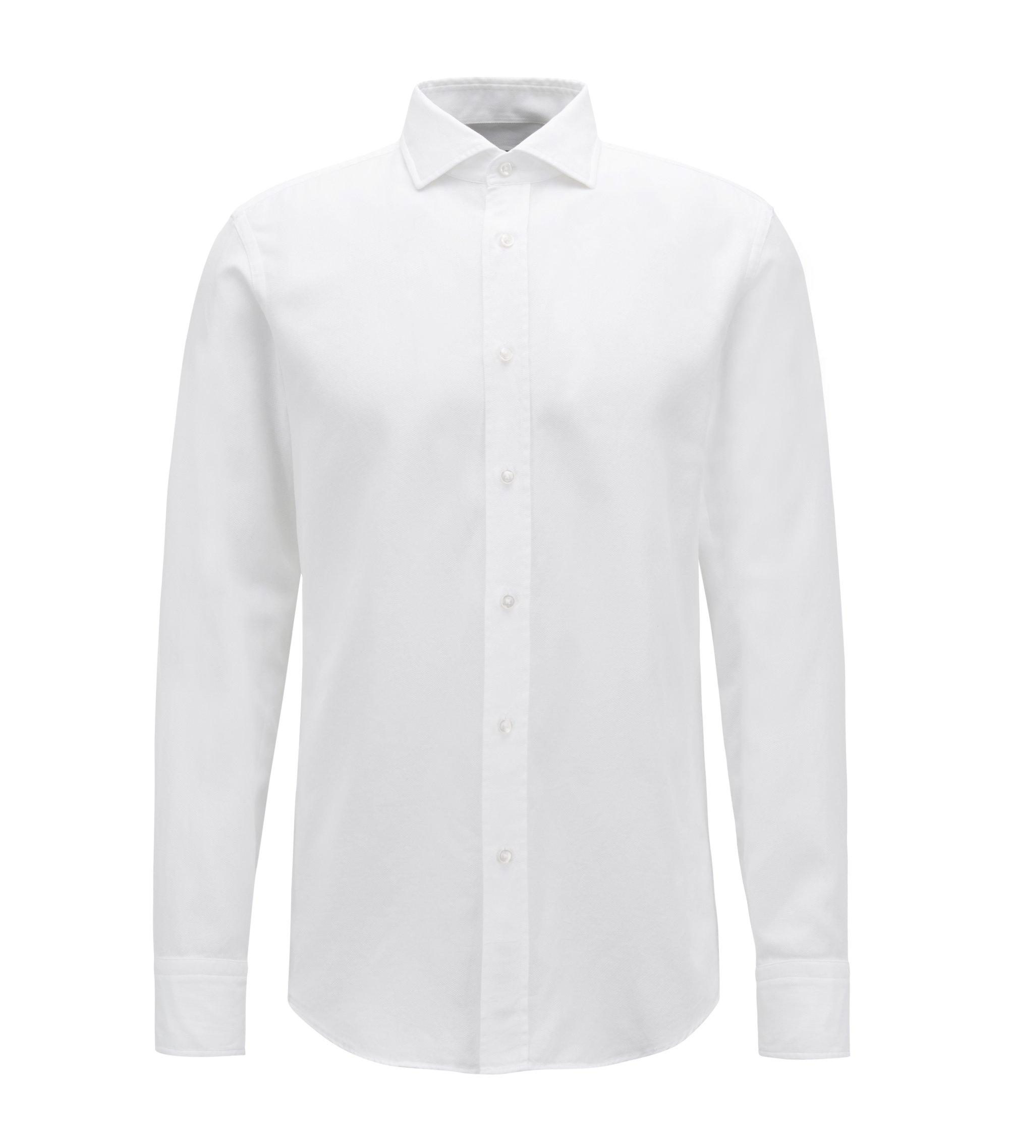 Slim-Fit Hemd aus italienischer Baumwolle mit plissiertem Einsatz, Weiß