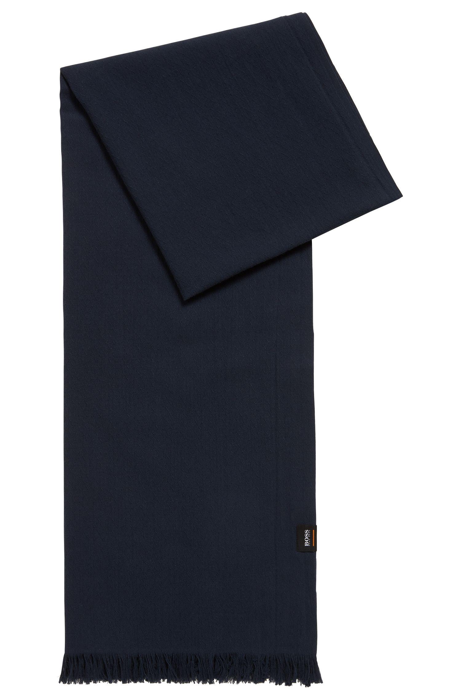 Écharpe en coton à micro motif allover, Bleu foncé