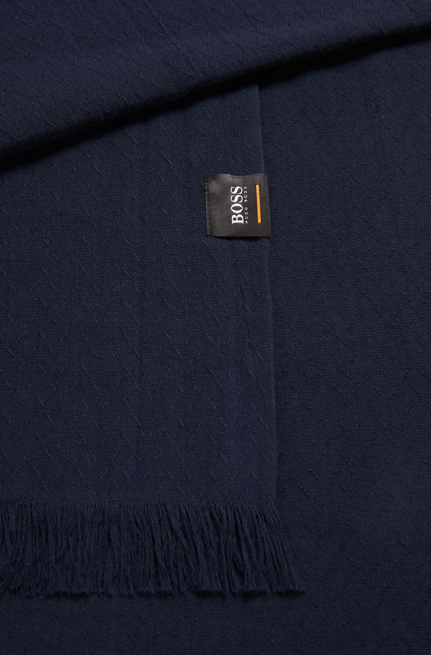 Sciarpa in cotone con micromotivo all-over, Blu scuro
