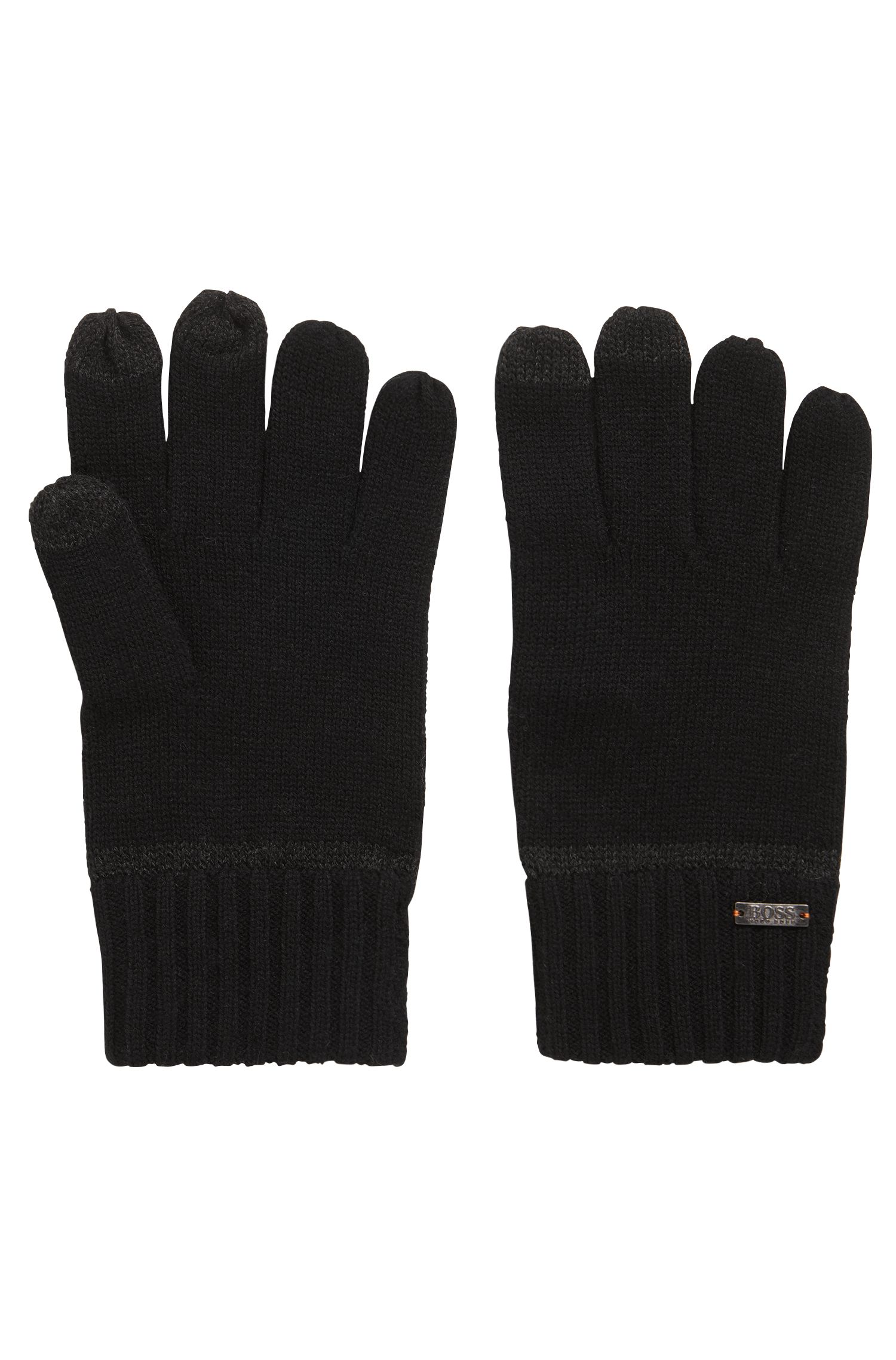 Knitted gloves with Touch Tech tips, Black