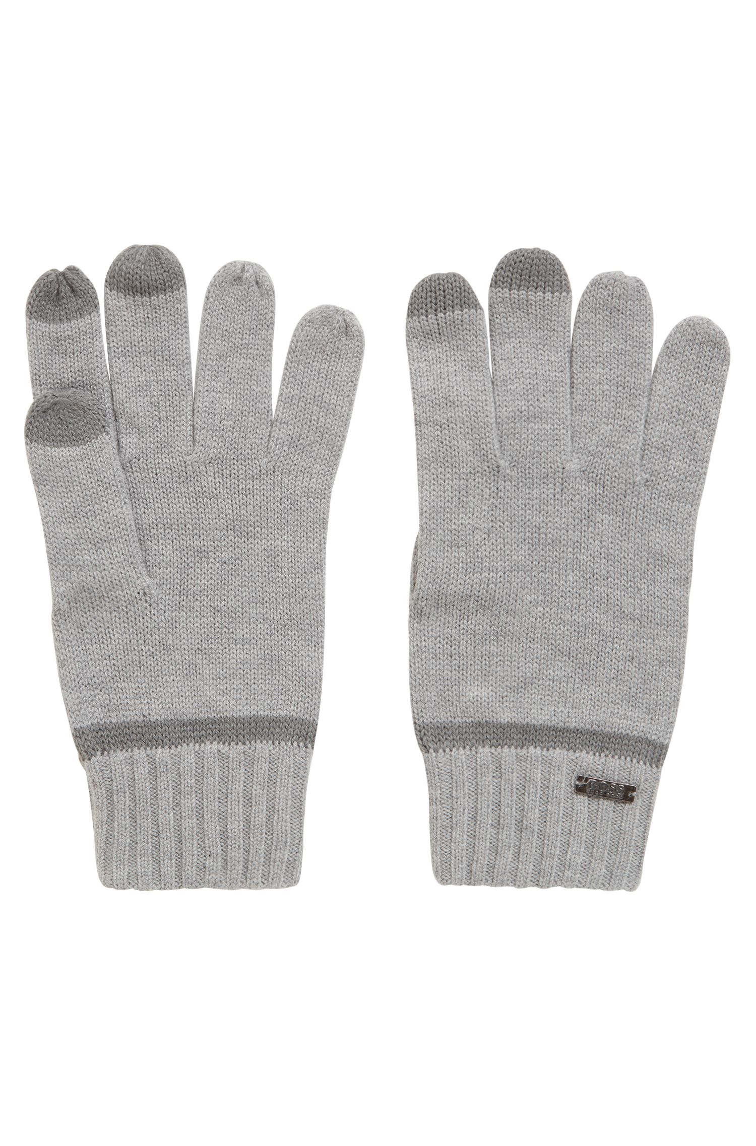 Knitted gloves with Touch Tech tips, Light Grey