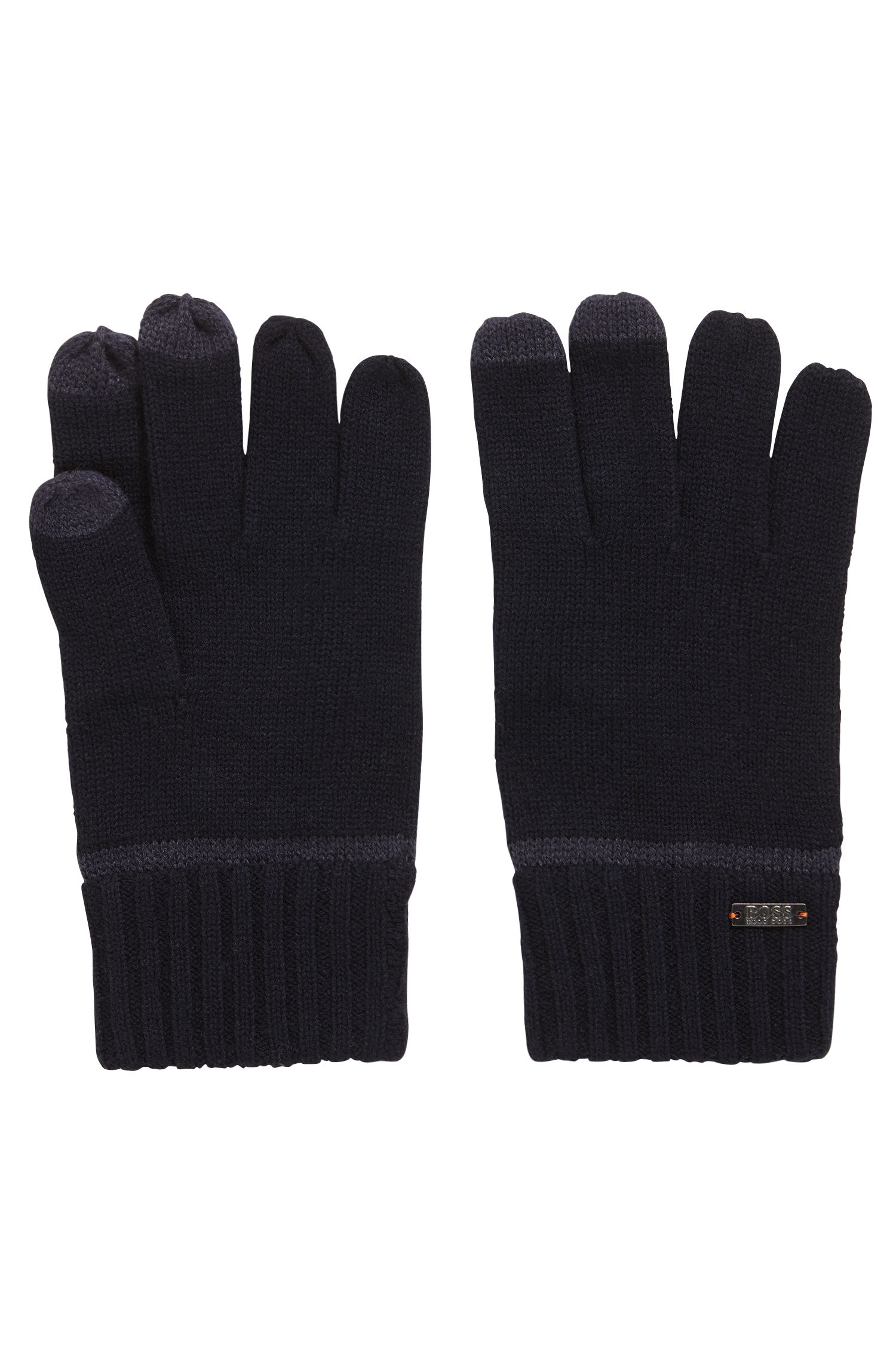 Knitted gloves with Touch Tech tips, Dark Blue