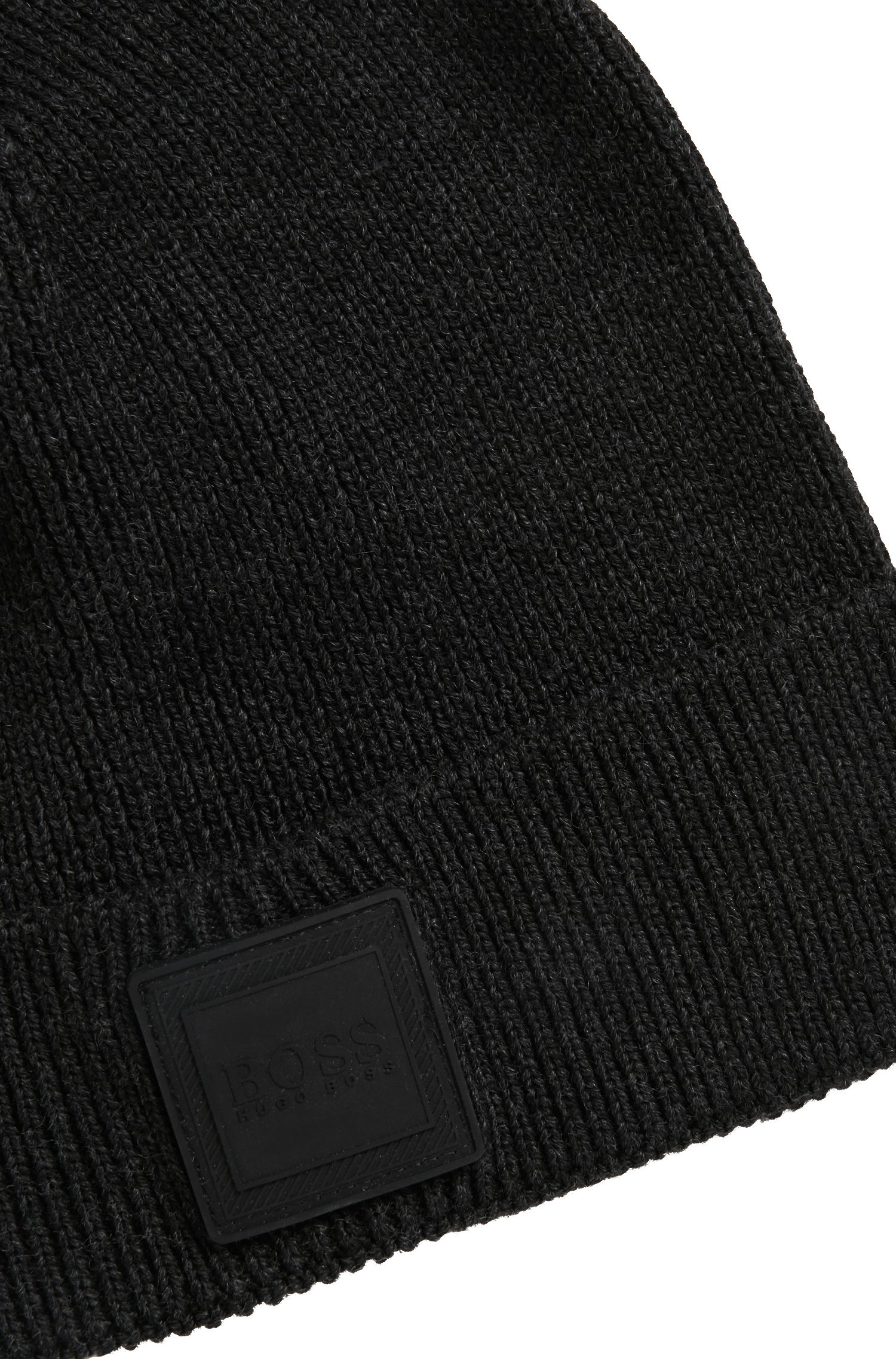 Beanie hat with silicone logo badge, Black