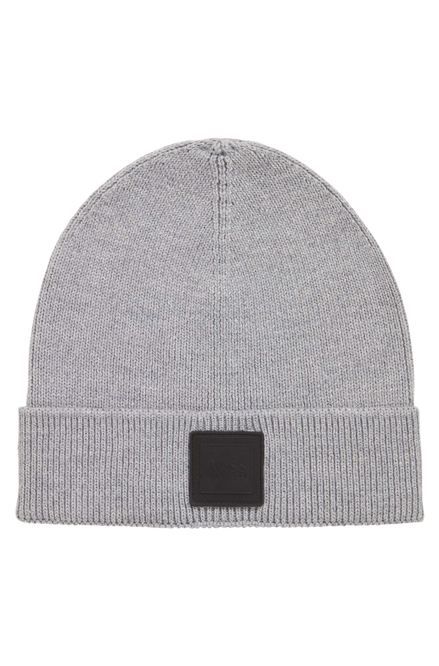 Beanie hat with silicone logo badge, Light Grey
