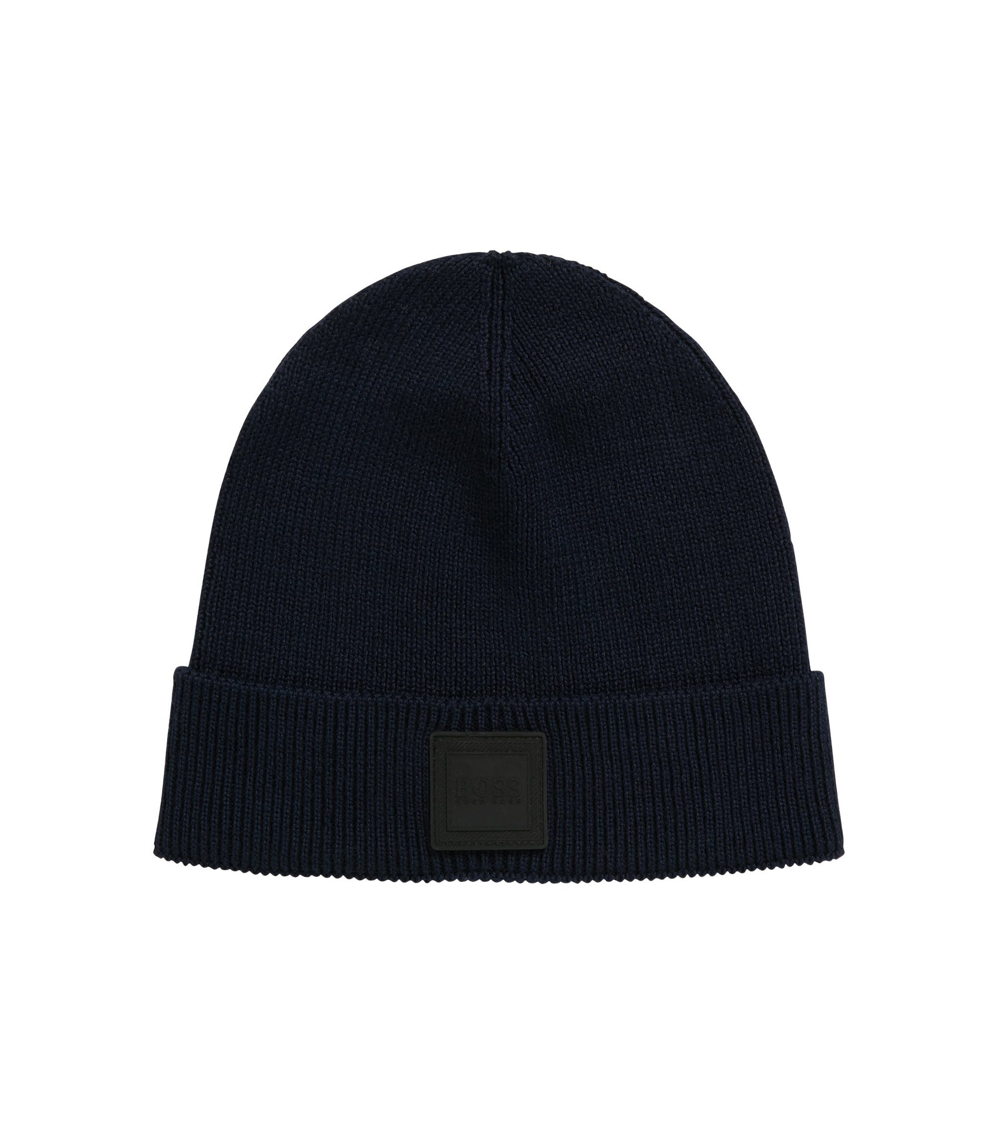 Beanie hat with silicone logo badge, Dark Blue