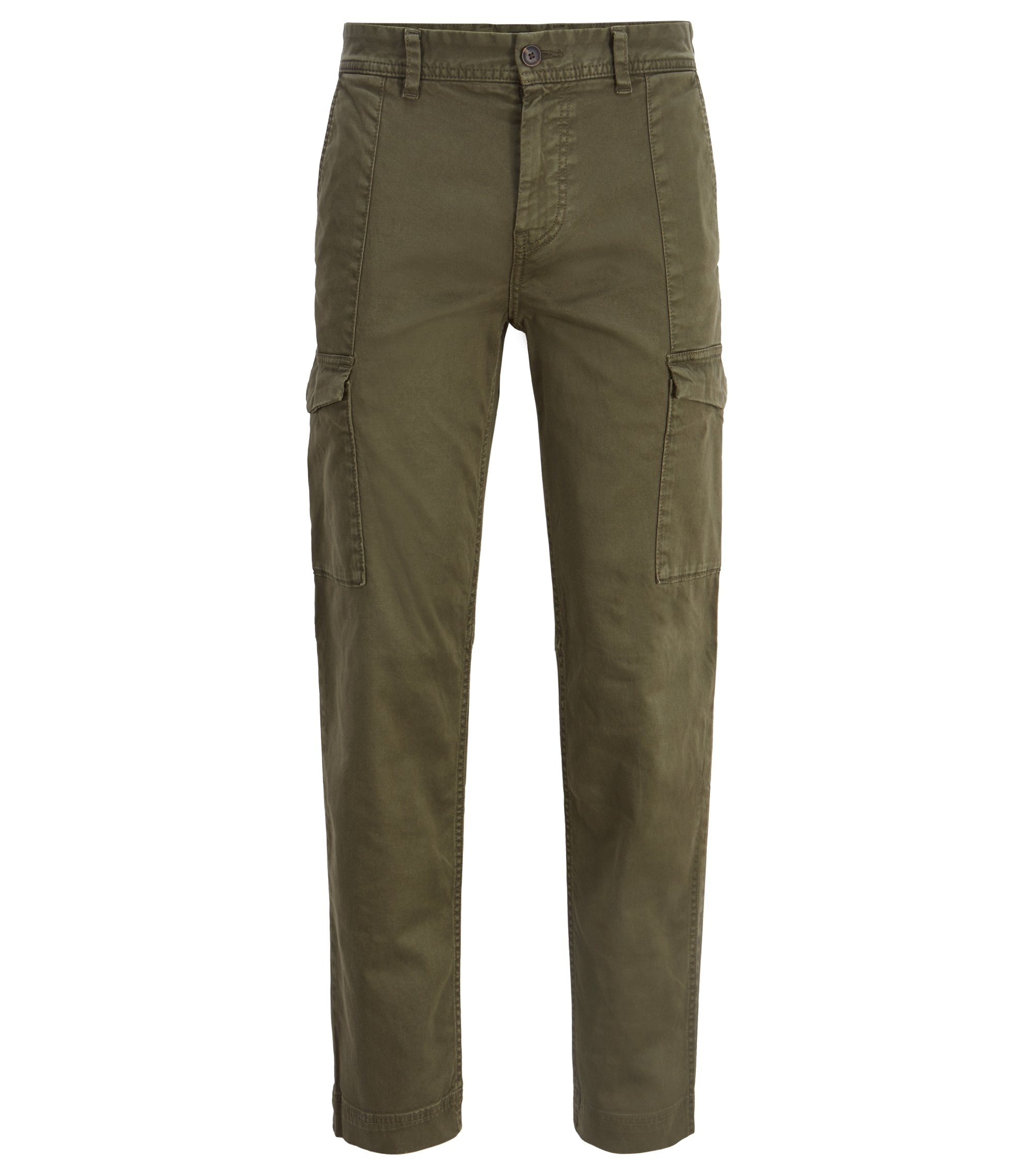 Pantalon cargo Tapered Fit en twill stretch à la finition double-teinte, Vert sombre