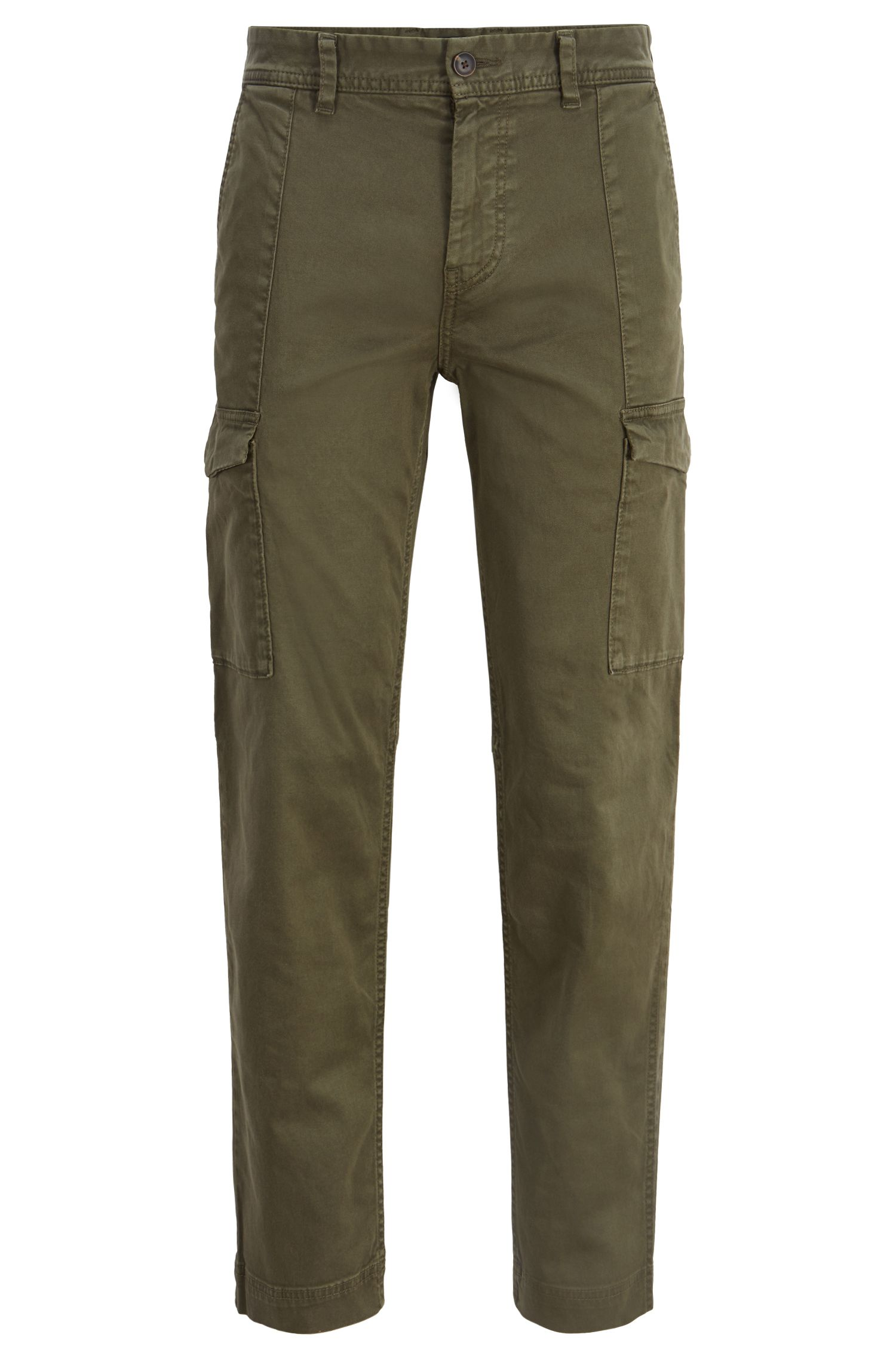 Tapered-fit cargo trousers in double-dyed stretch twill, Dark Green
