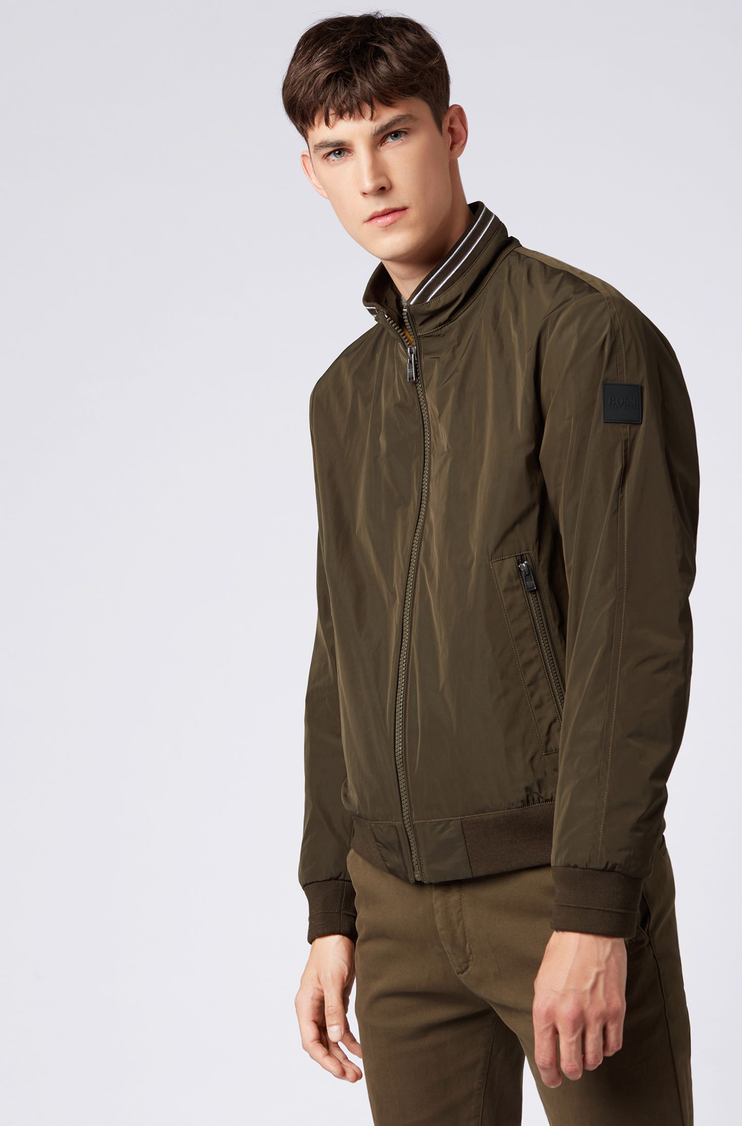 Water-repellent blouson jacket with knitted inner collar, Open Green