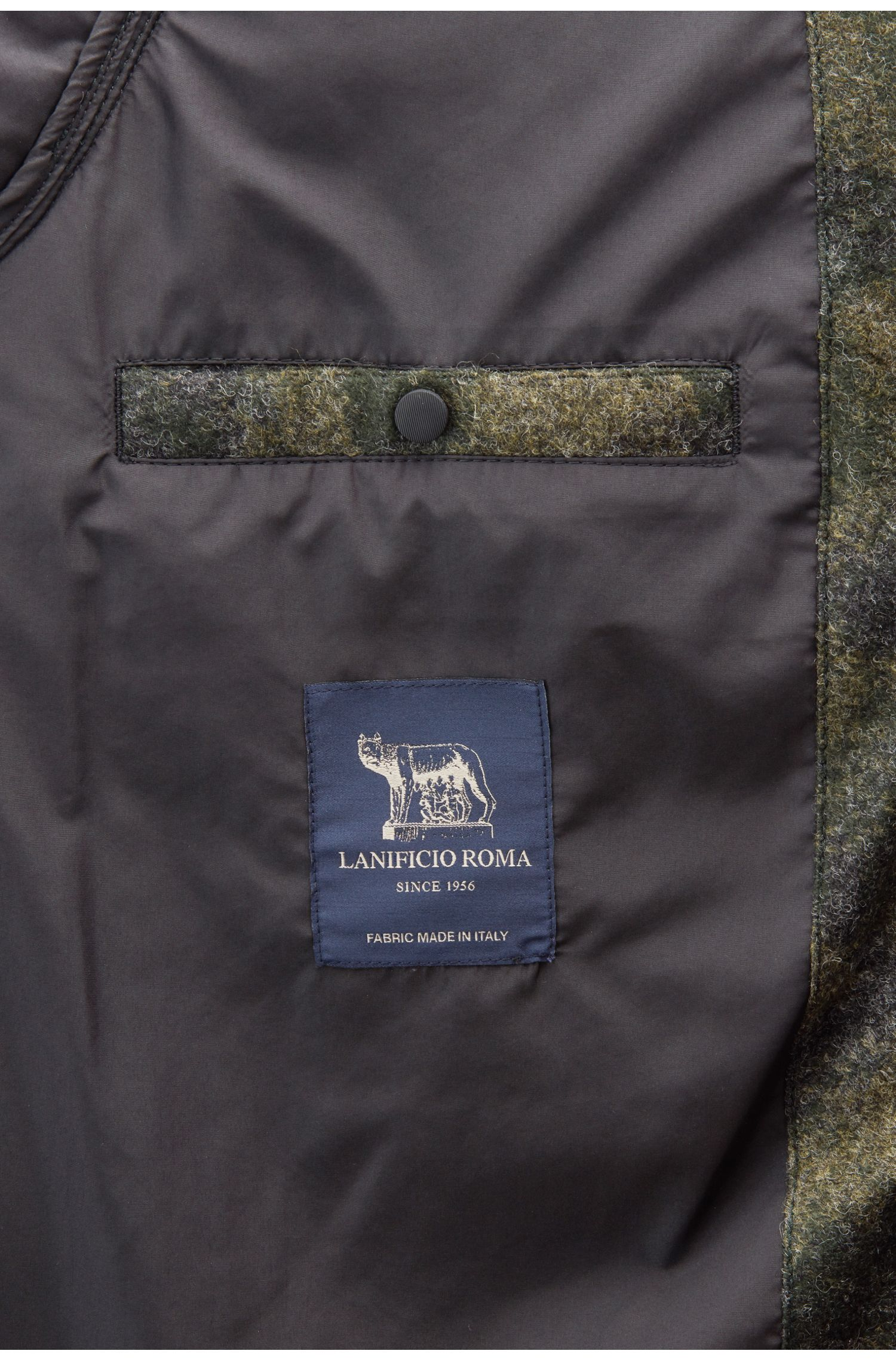 Daunenjacke aus Filzstoff mit Camouflage-Print, Dunkelgrün