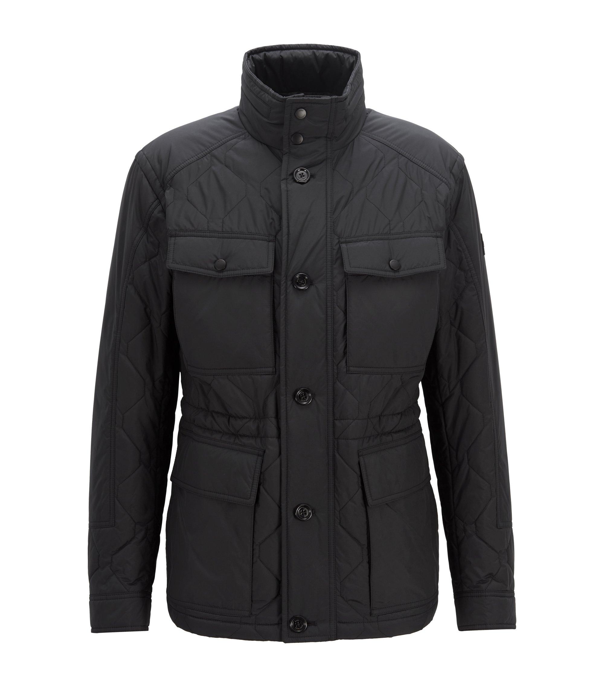 Veste militaire matelassée Regular Fit avec extérieur imperméable, Noir