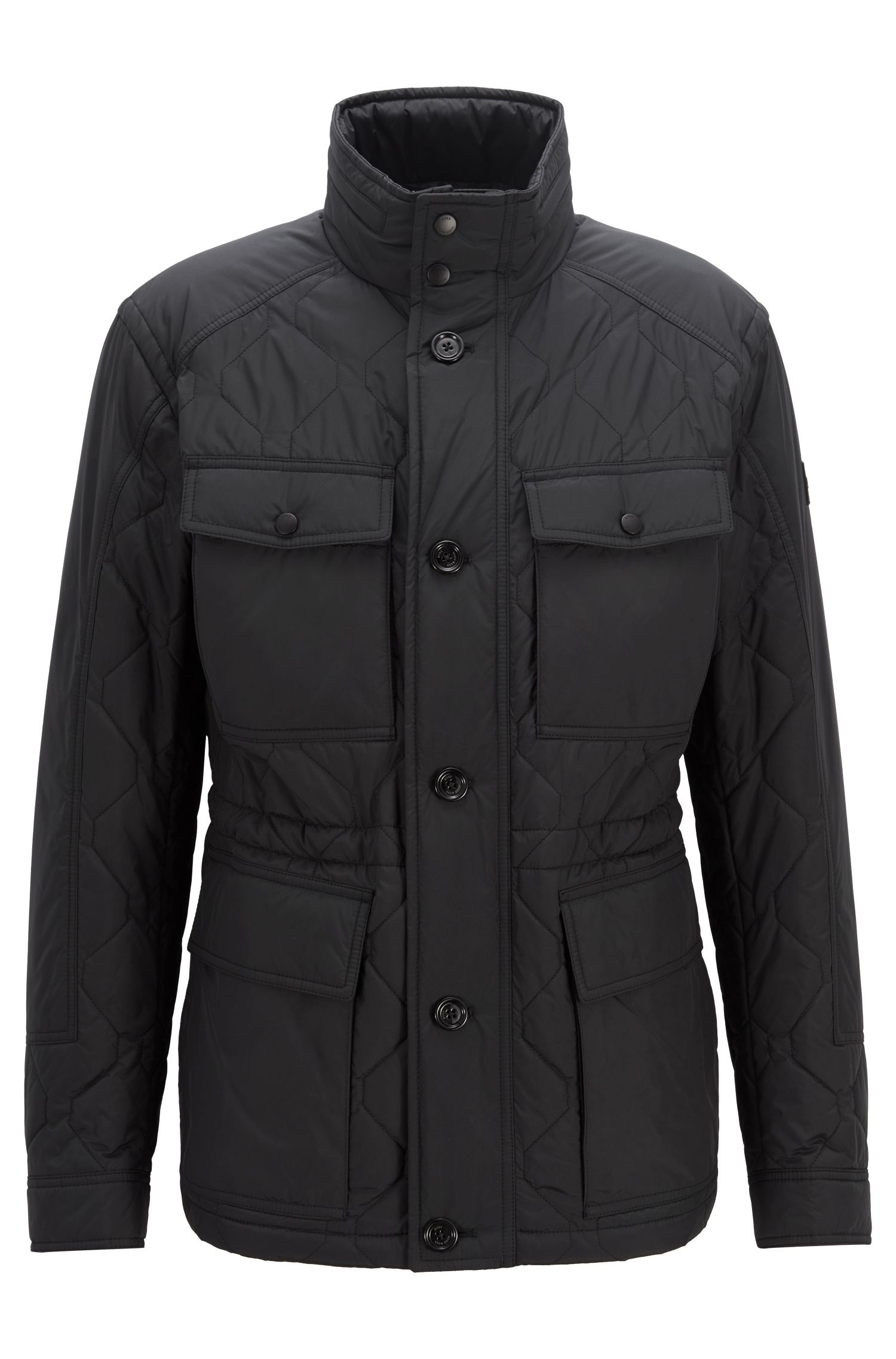 Field jacket trapuntata regular fit con rivestimento idrorepellente, Nero