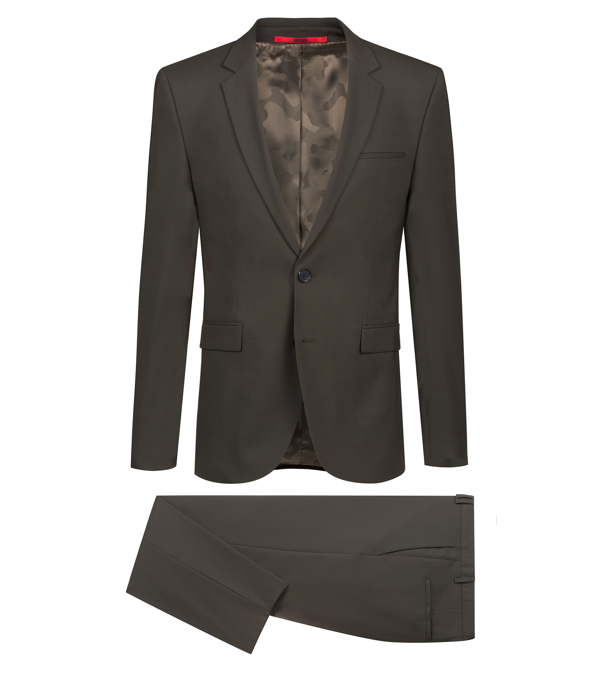 Extra-slim-fit virgin-wool suit with camouflage lining, Dark Green