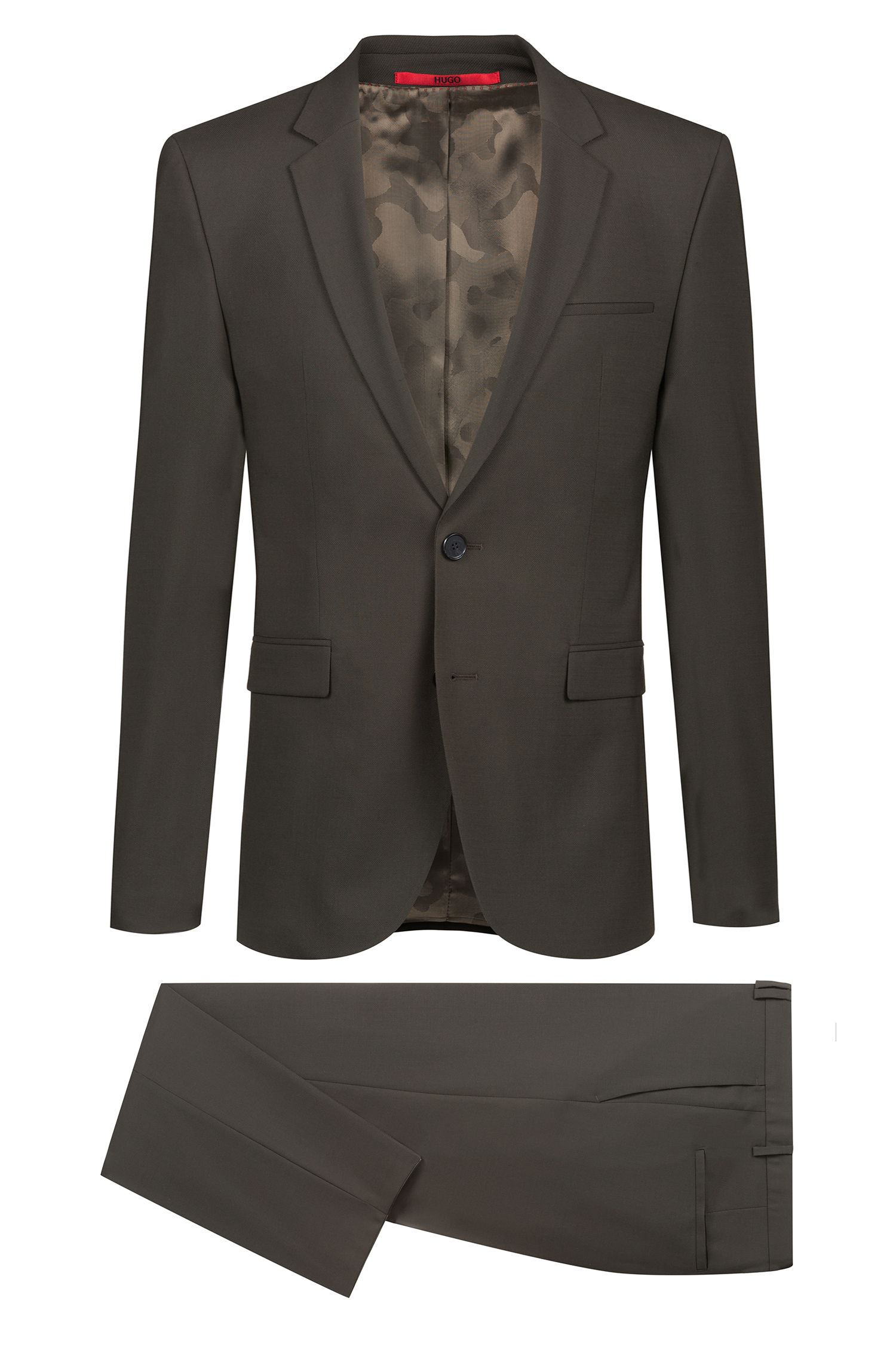 Extra-slim-fit virgin-wool suit with camouflage lining