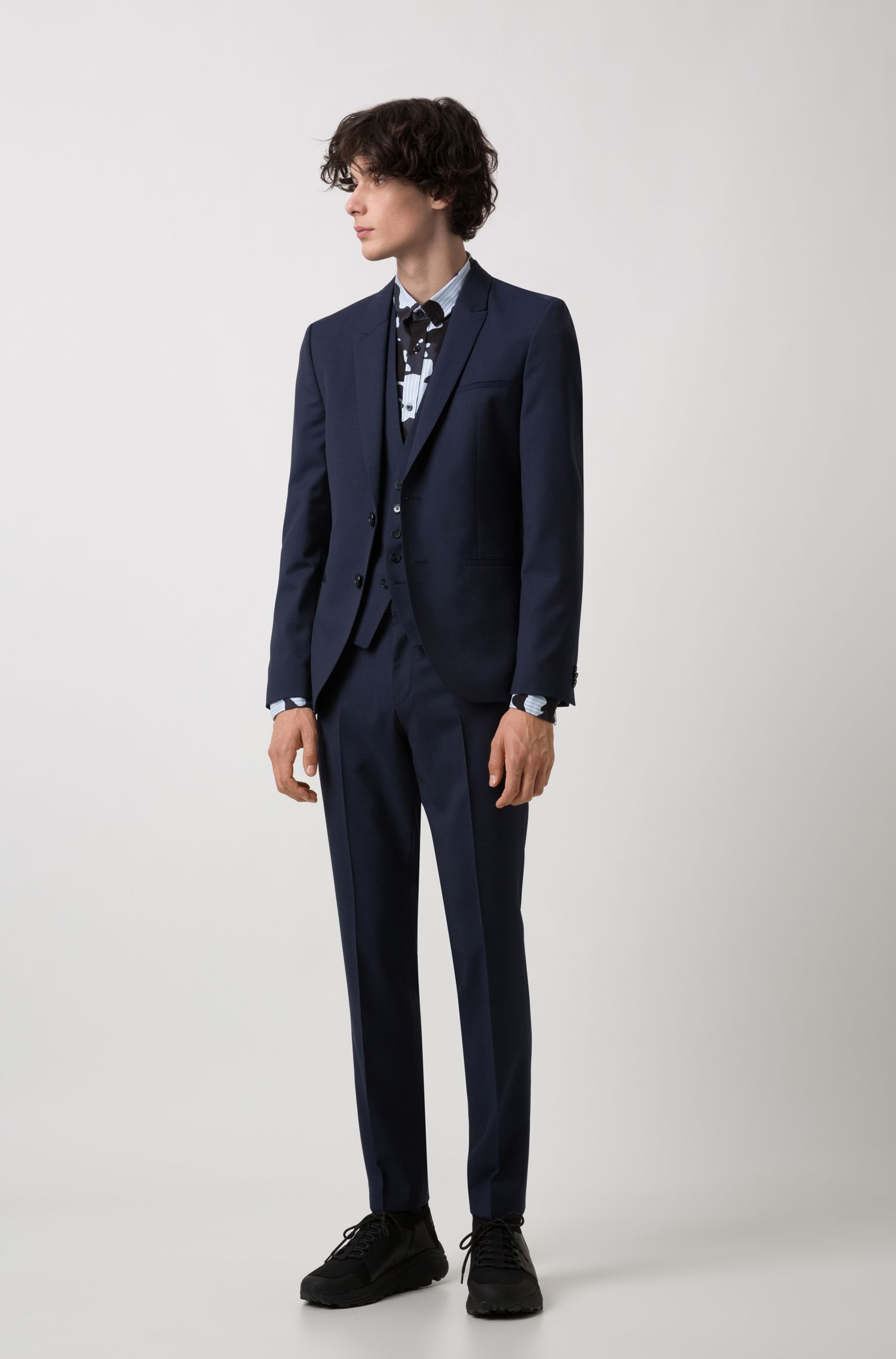 Extra-slim-fit three-piece suit in patterned wool, Dark Blue