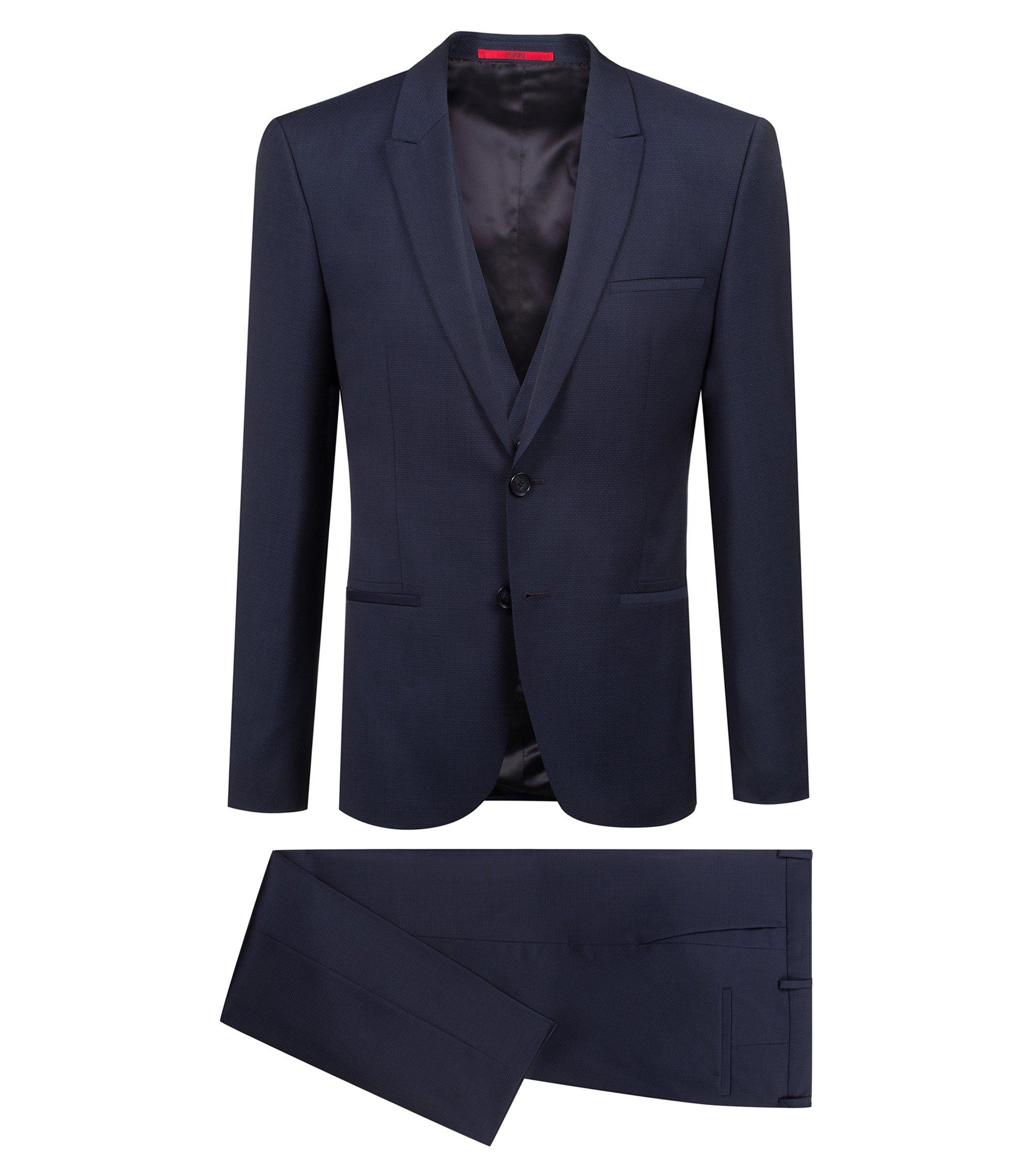 Driedelig, extra slim-fit kostuum van wol met dessin, Donkerblauw