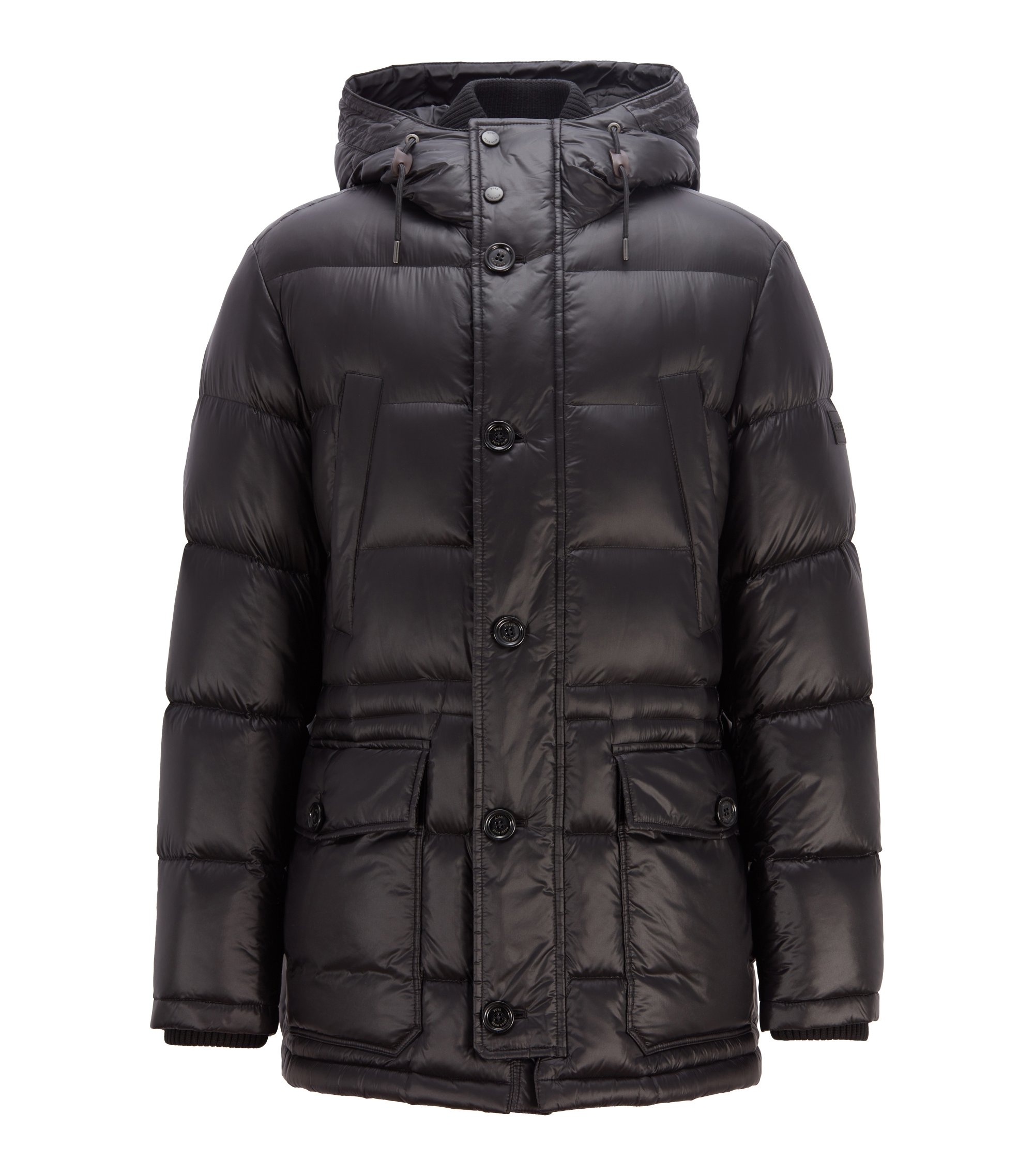 Hooded down-filled parka jacket with ribbed cuffs, Black
