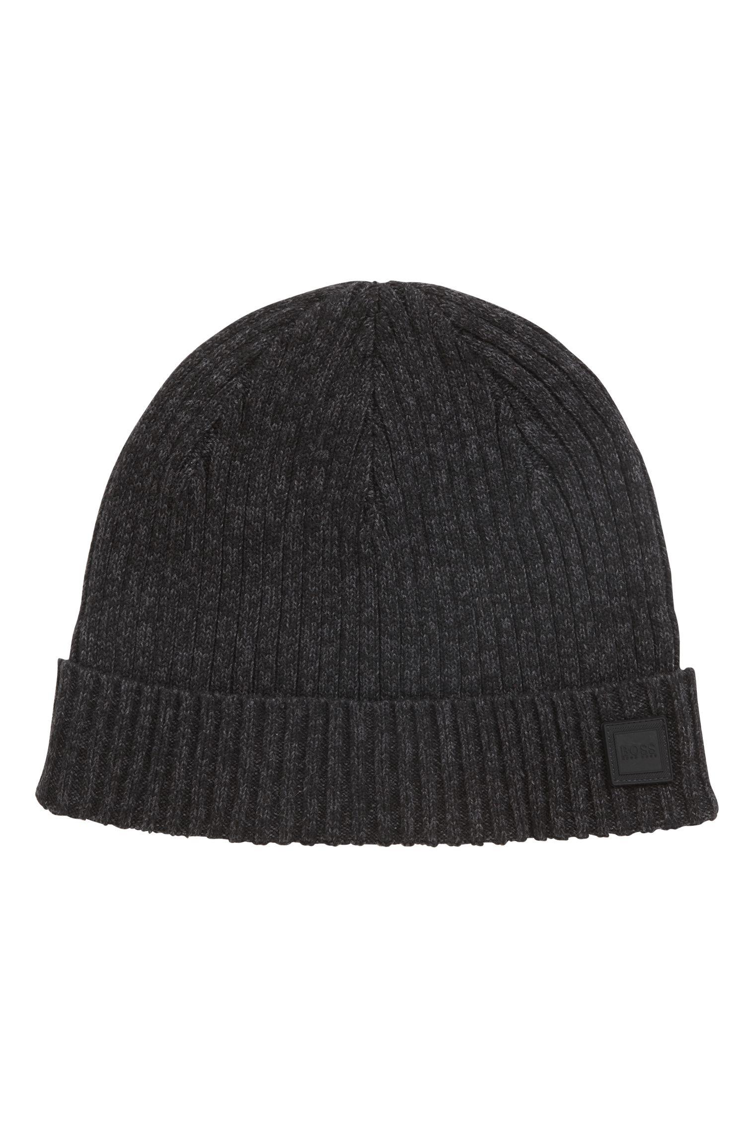 Bonnet en maille côtelée en coton mouliné mélangé, Noir