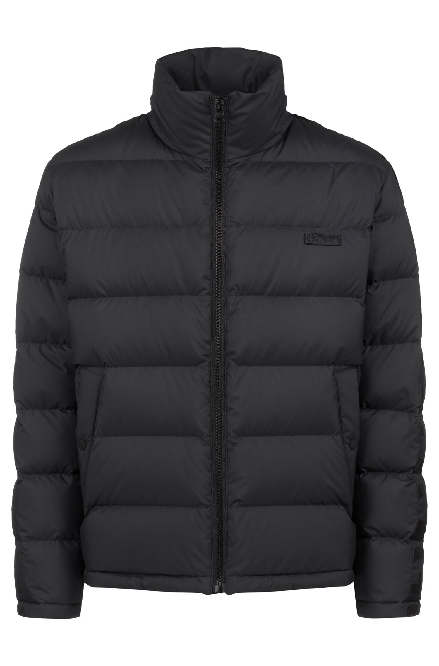 Water-repellent down jacket with logo-tape detailing, Black