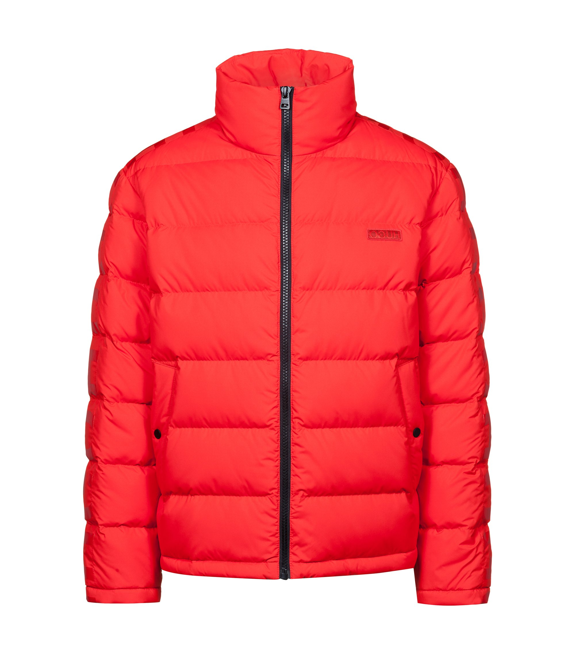 Water-repellent down jacket with logo-tape detailing, Red