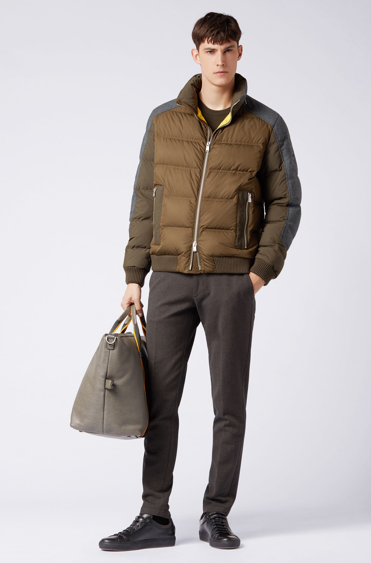 Water-repellent down-filled jacket with hybrid outer