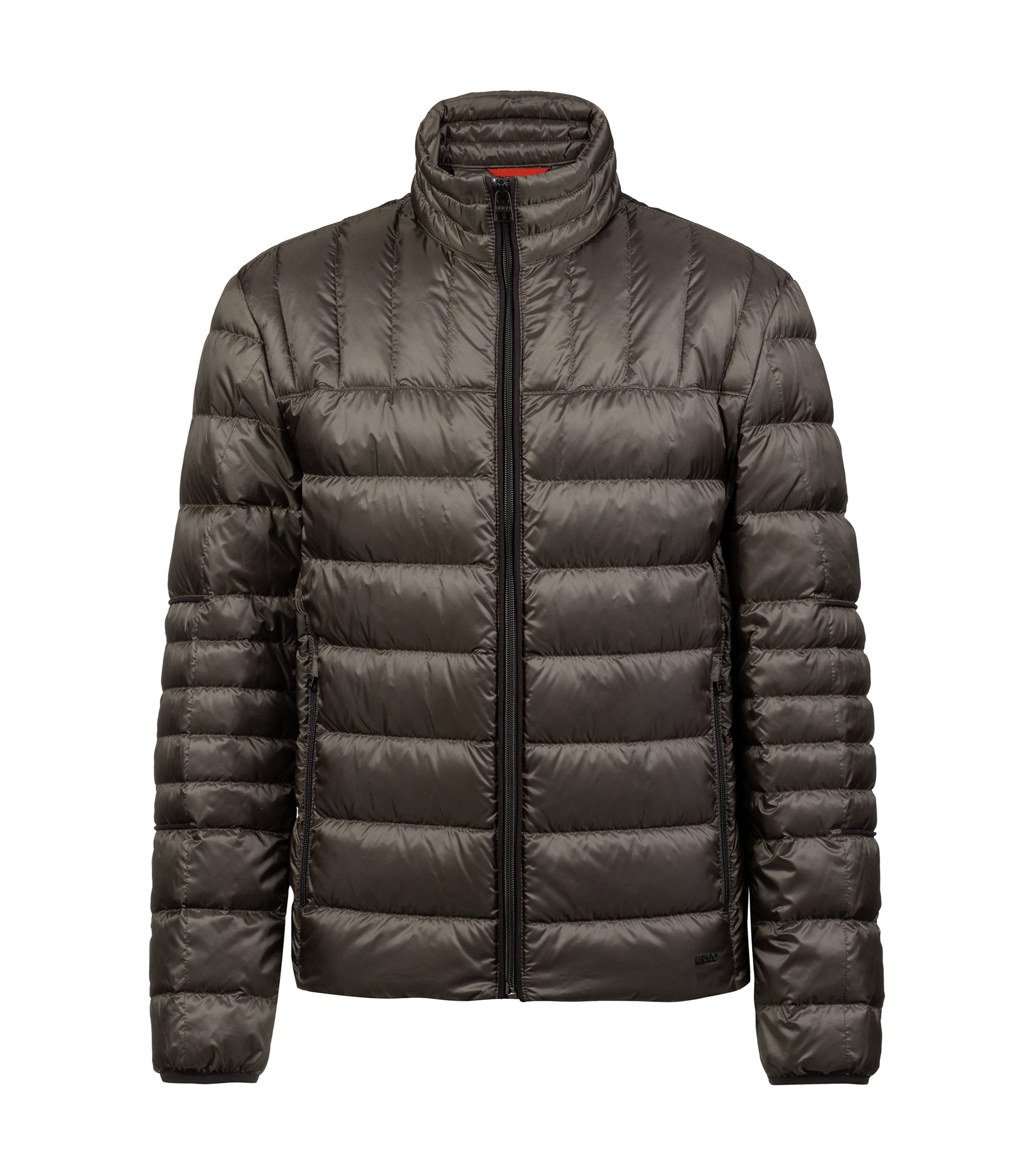 Regular-fit down jacket in water-repellent technical fabric, Dark Green