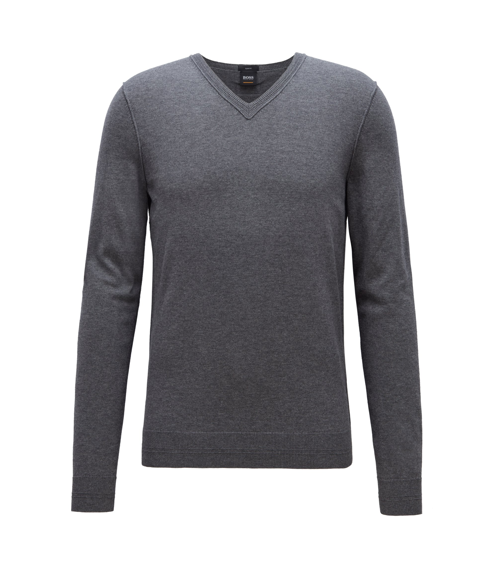 Slim-fit cotton-blend sweater with 3D ribbed details, Anthracite