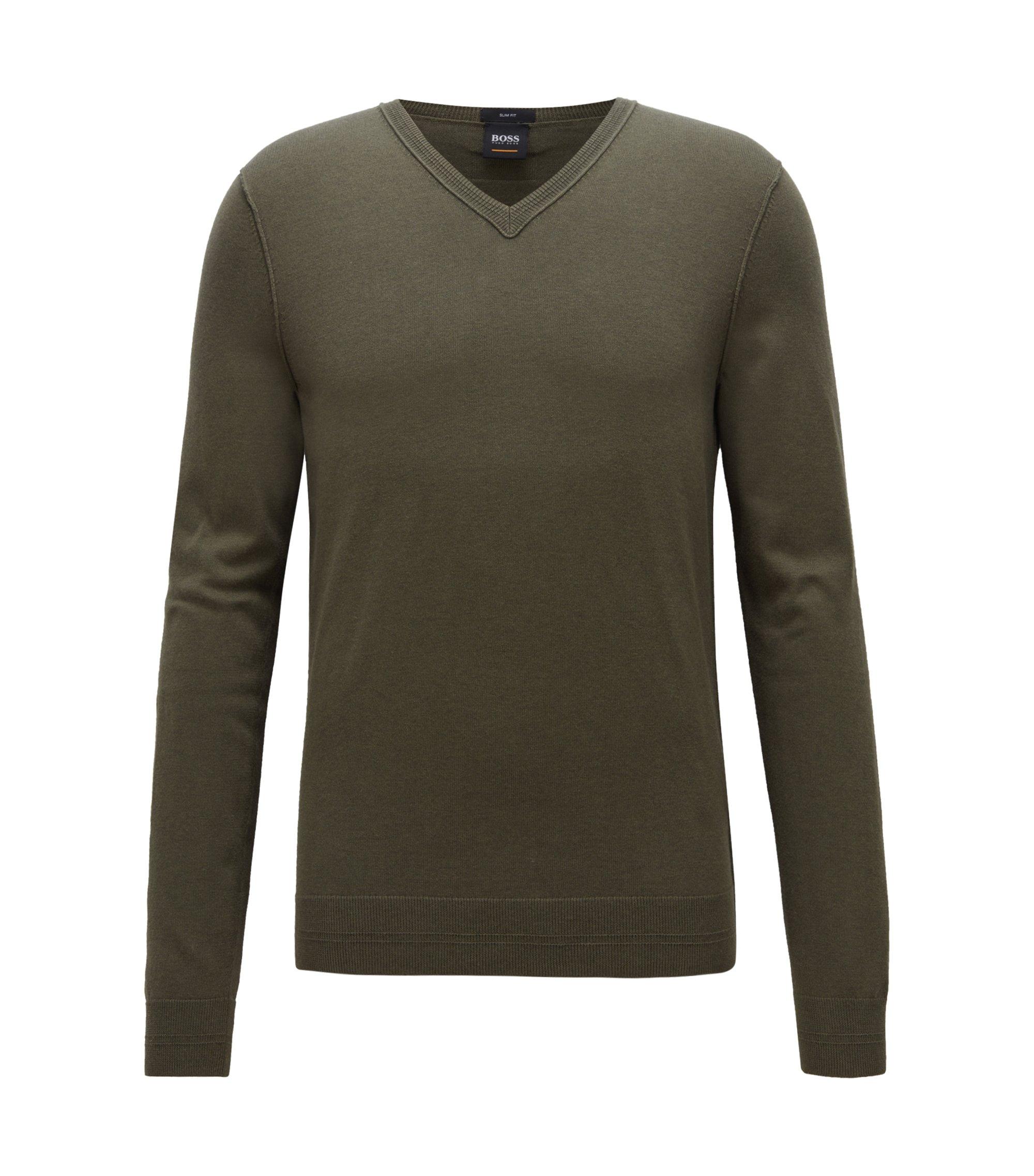Pullover aus Baumwoll-Mix mit gerippten 3D-Details, Dunkelgrün
