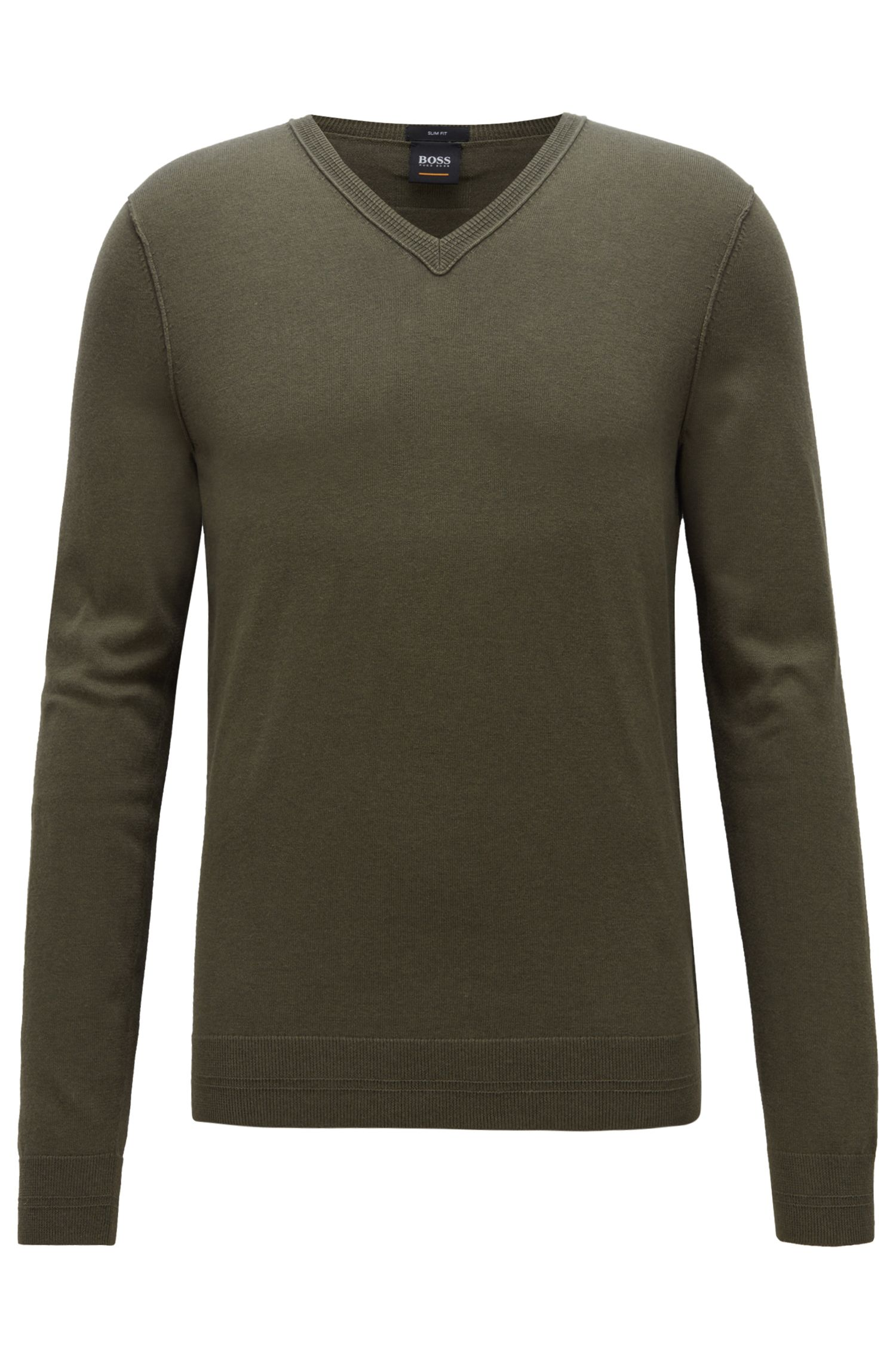 Slim-fit cotton-blend sweater with 3D ribbed details, Dark Green