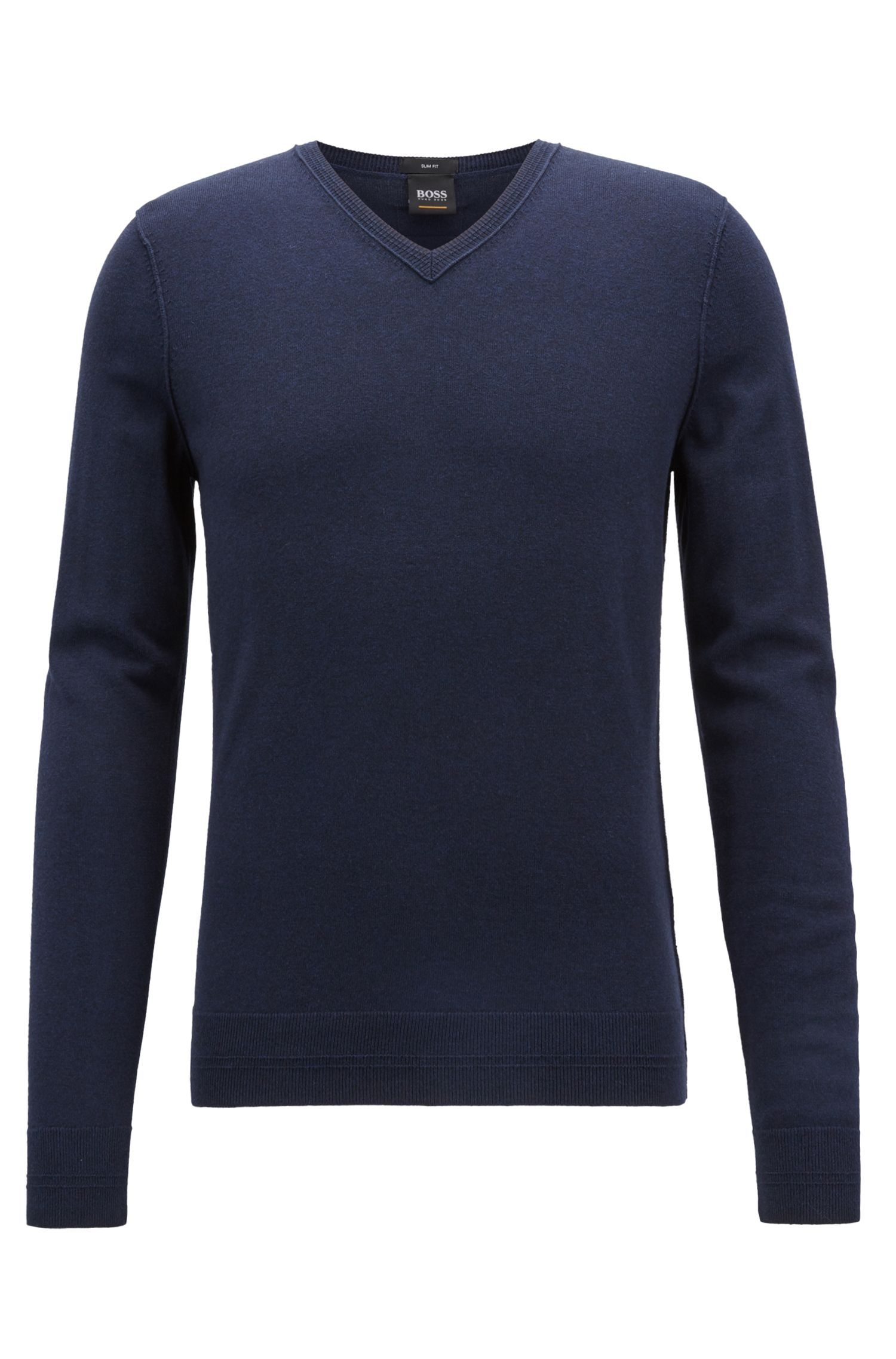 Slim-fit cotton-blend sweater with 3D ribbed details, Dark Blue