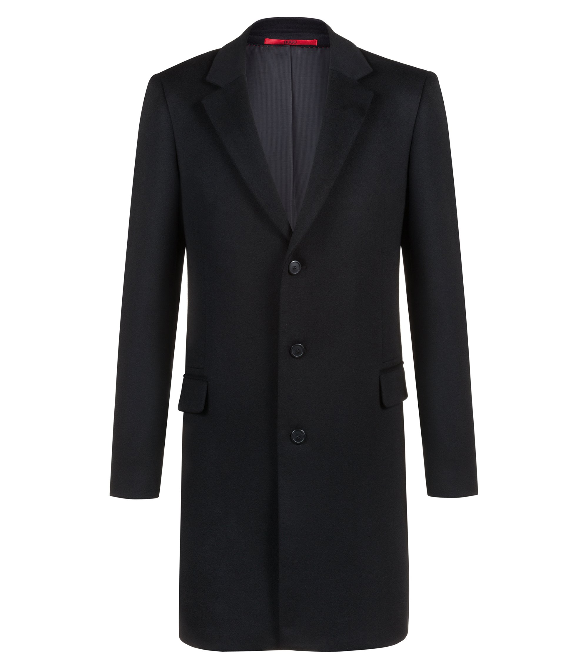 Extra-slim-fit cashmere coat with faux-leather undercollar, Black