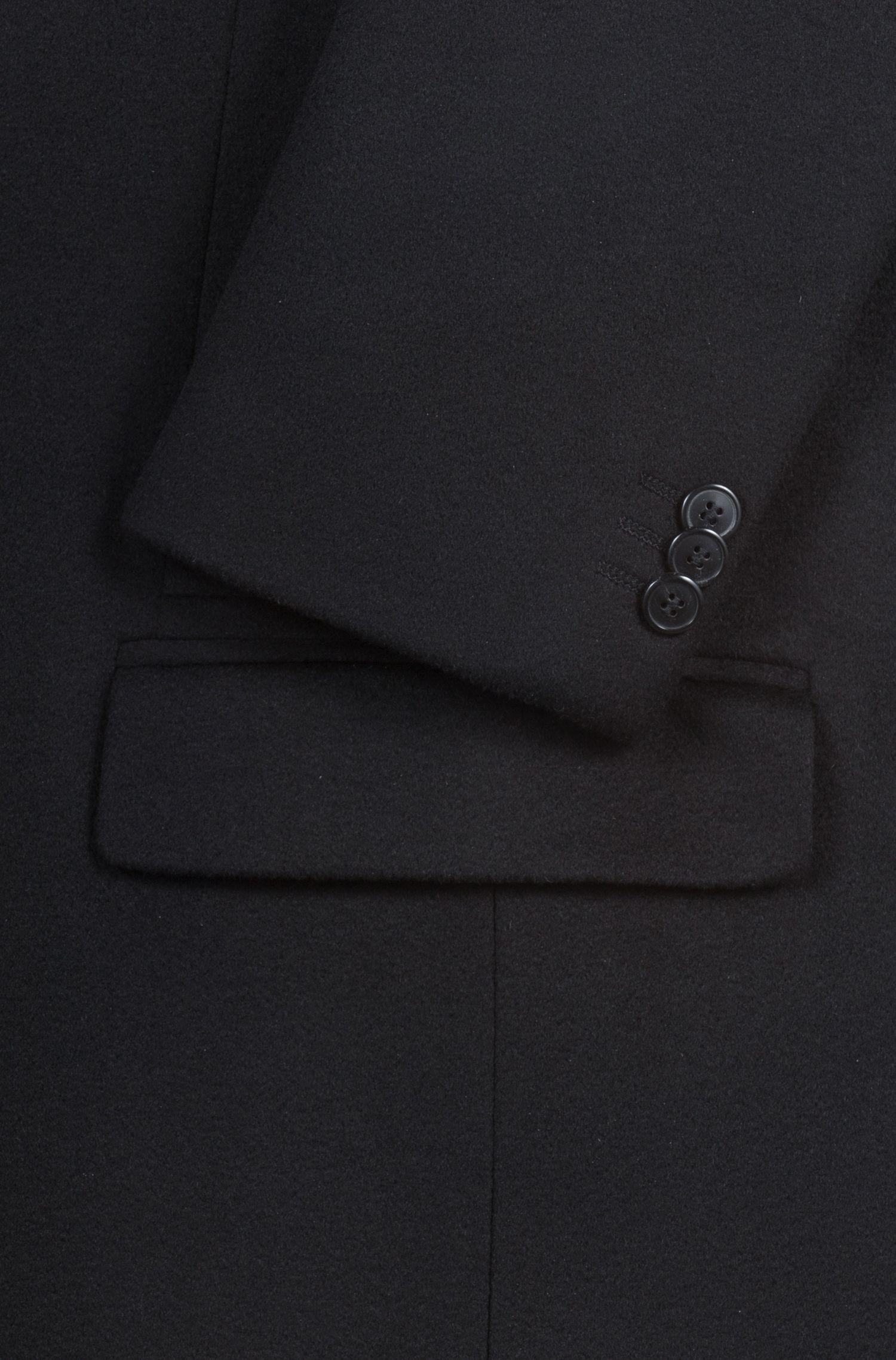 Kaschmirmantel mit Kragenunterseite aus Kunstleder, Schwarz