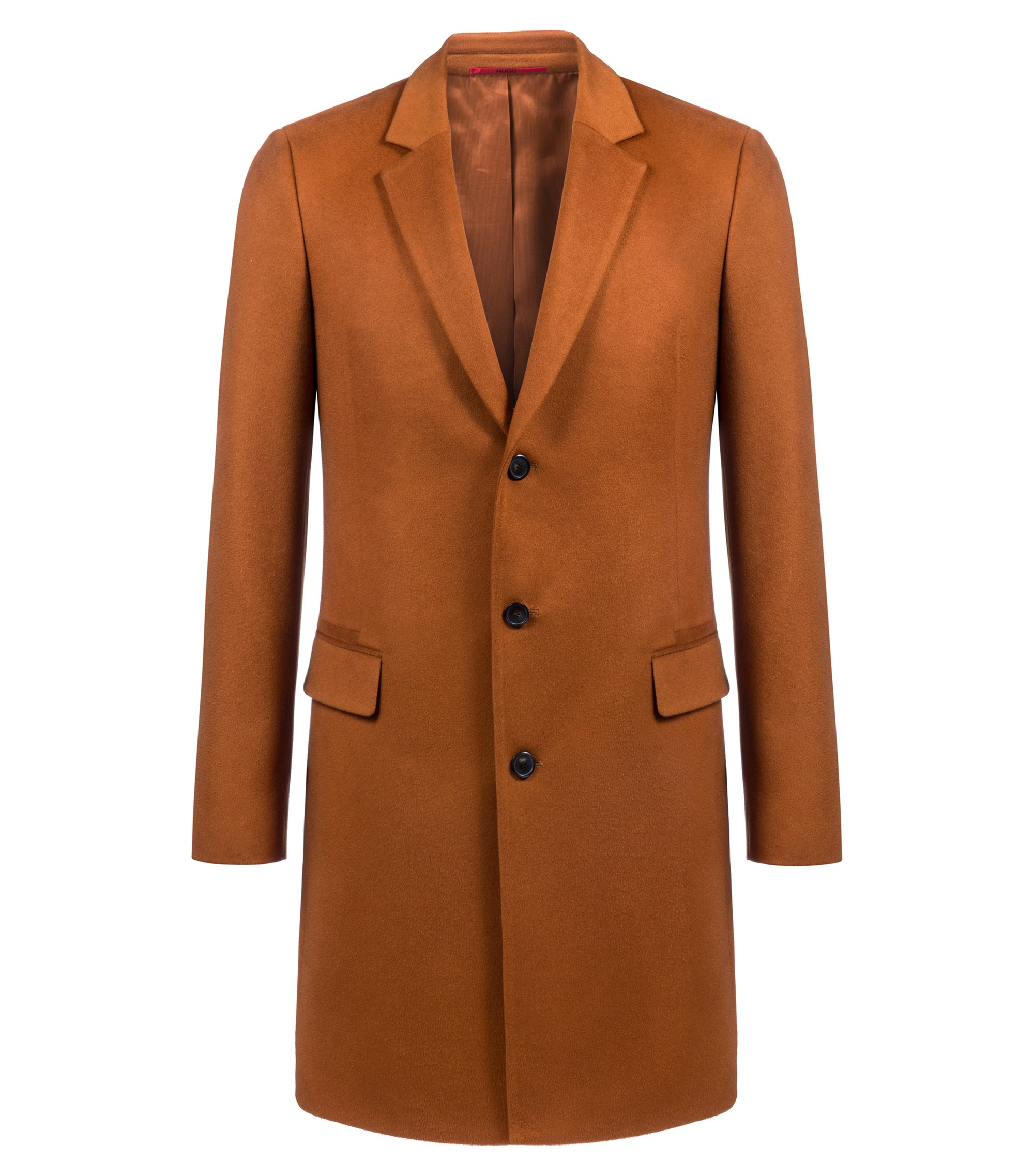 Extra-slim-fit cashmere coat with faux-leather undercollar, Brown