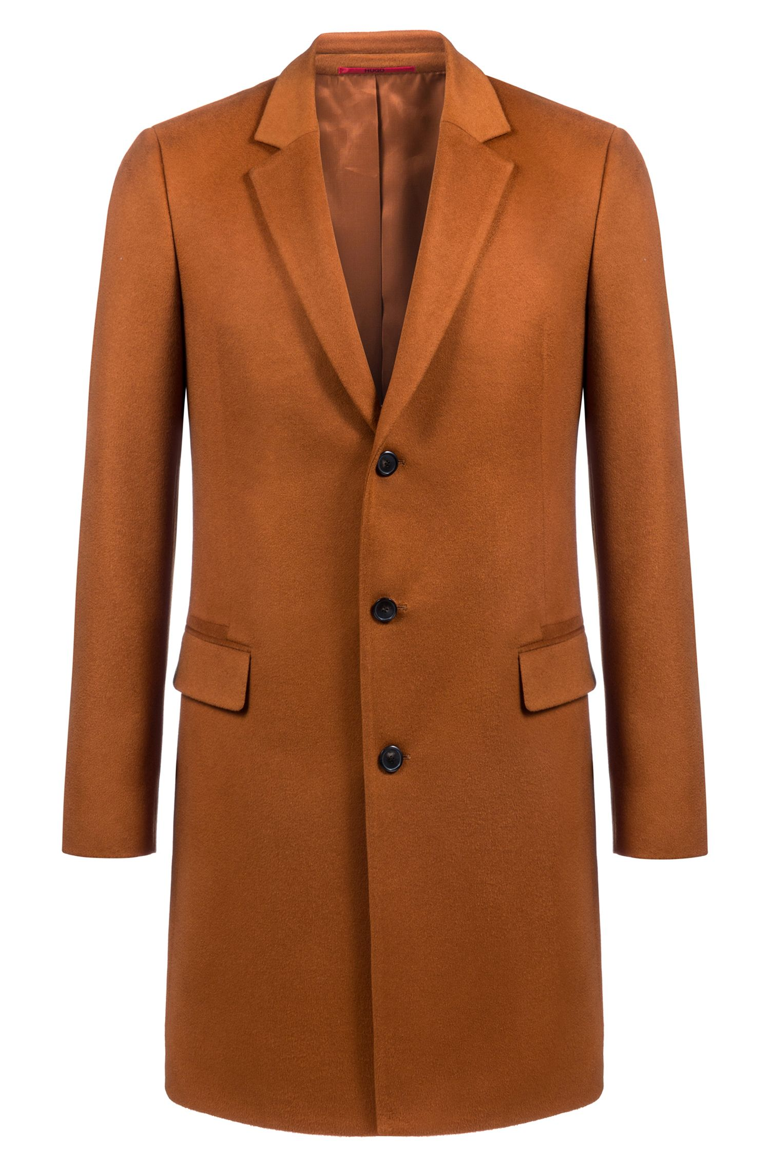 Cappotto di cashmere extra slim fit con sottocollo in similpelle, Marrone