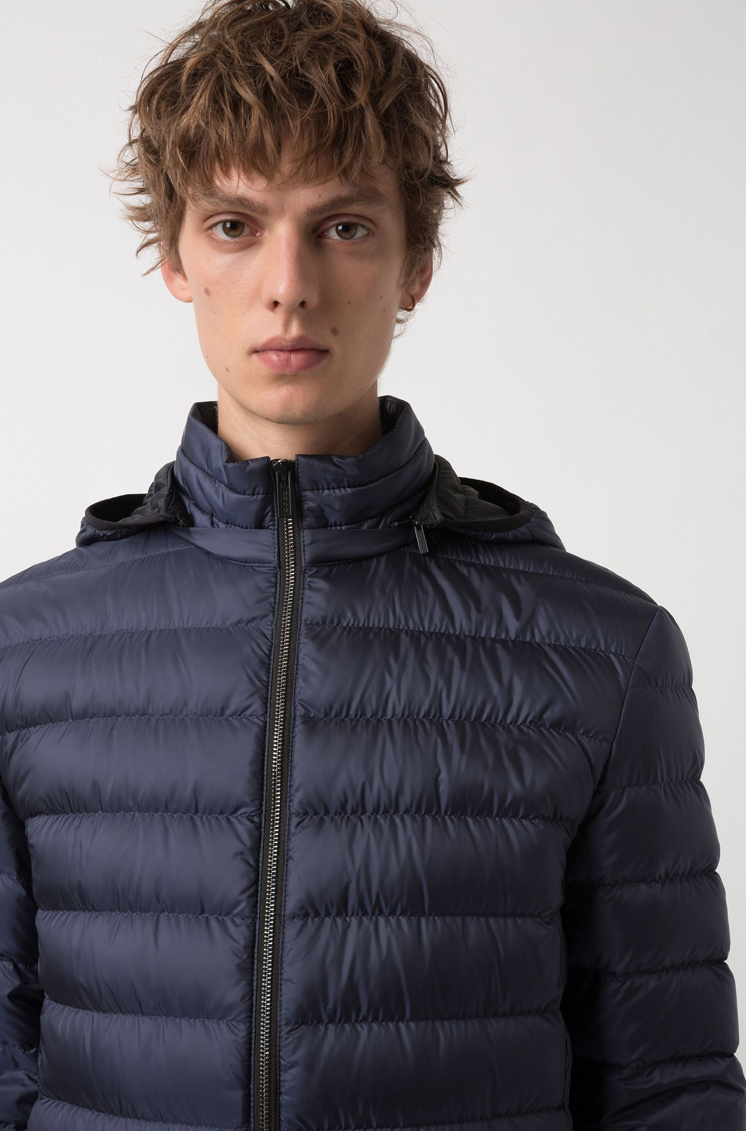 Down jacket in water-repellent fabric with detachable hood, Dark Blue