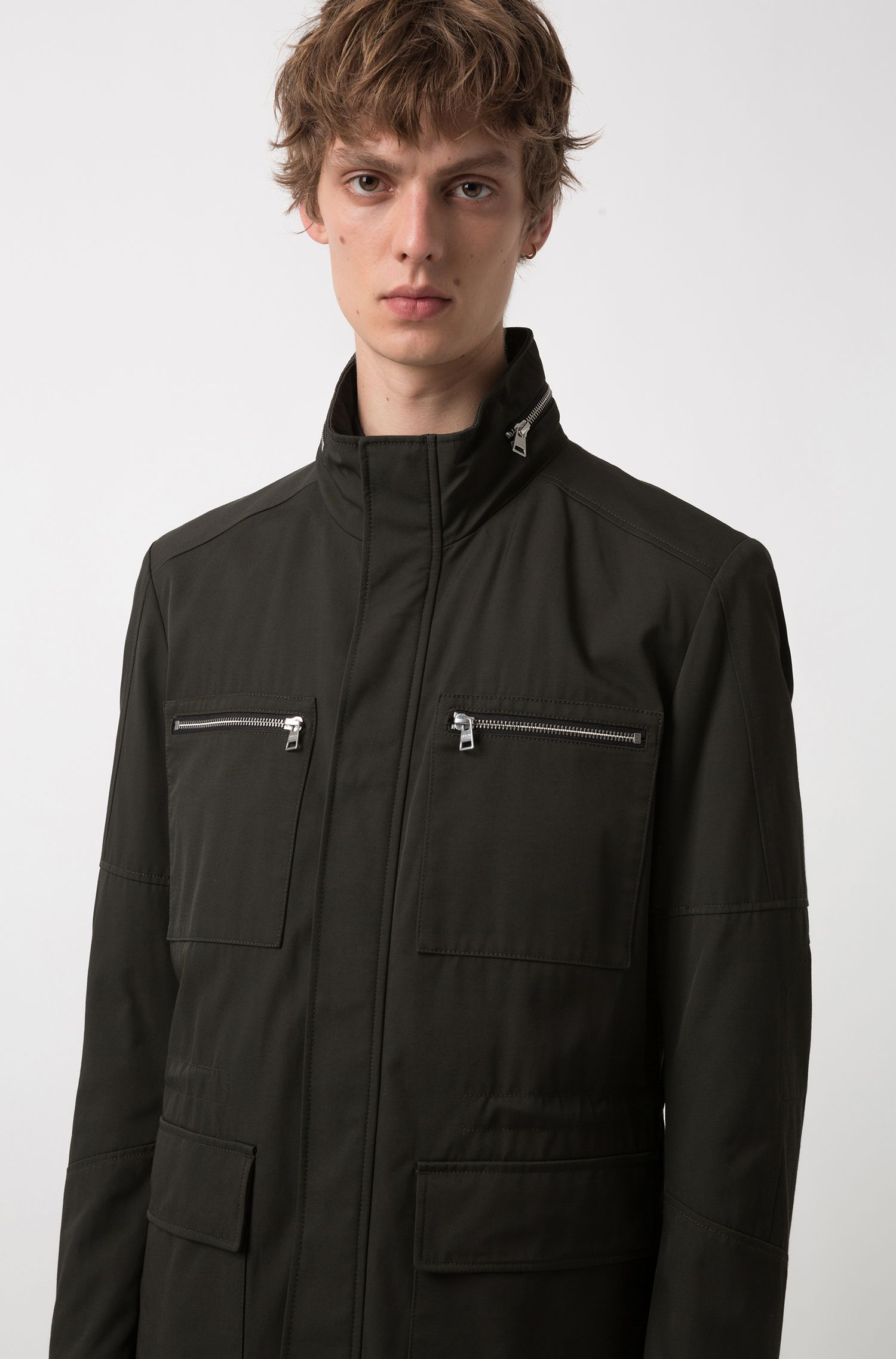 Field jacket in tessuto tecnico idrorepellente, Verde scuro