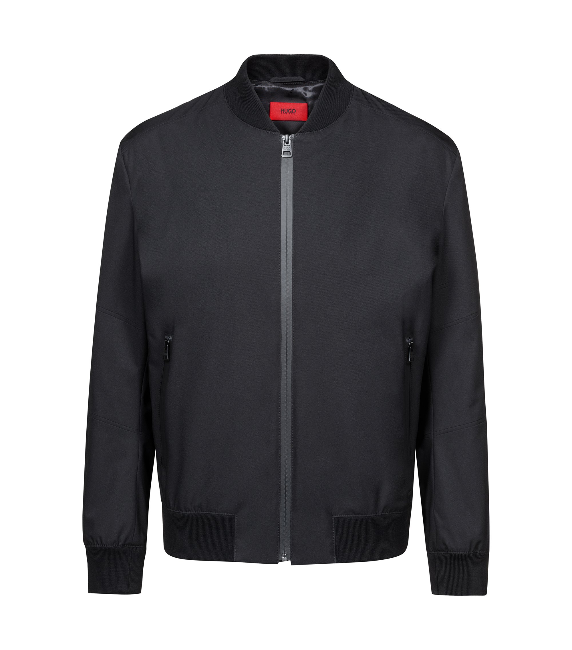 Water-repellent jacket with zip-through front, Black