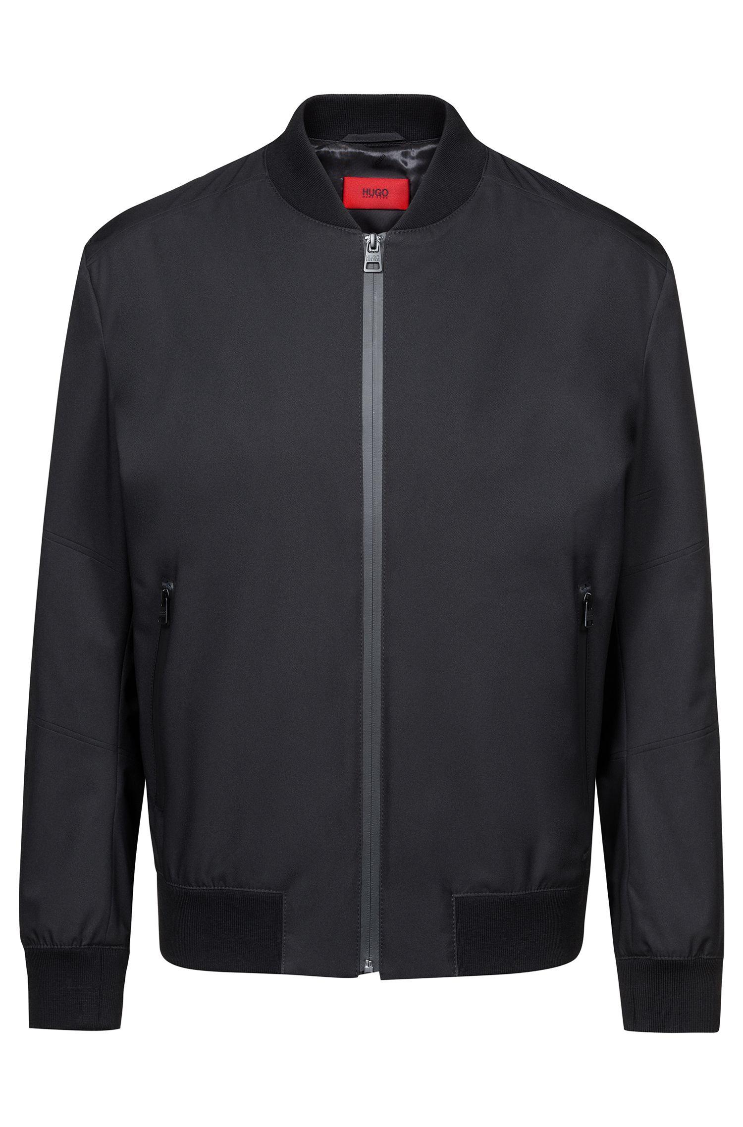 Water-repellent jacket with zip-through front, Black