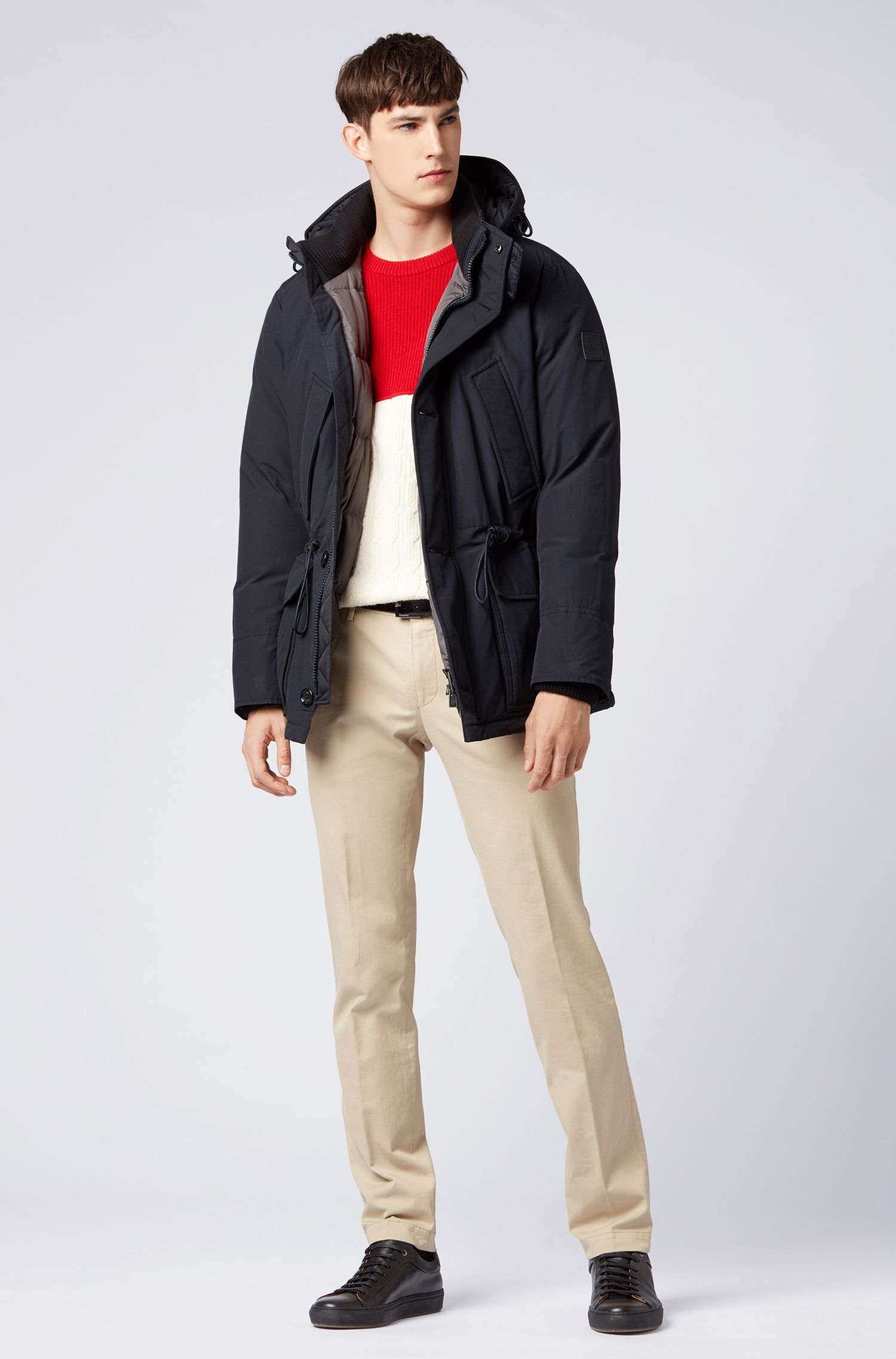 Relaxed-fit down jacket with waxed cotton-blend outer