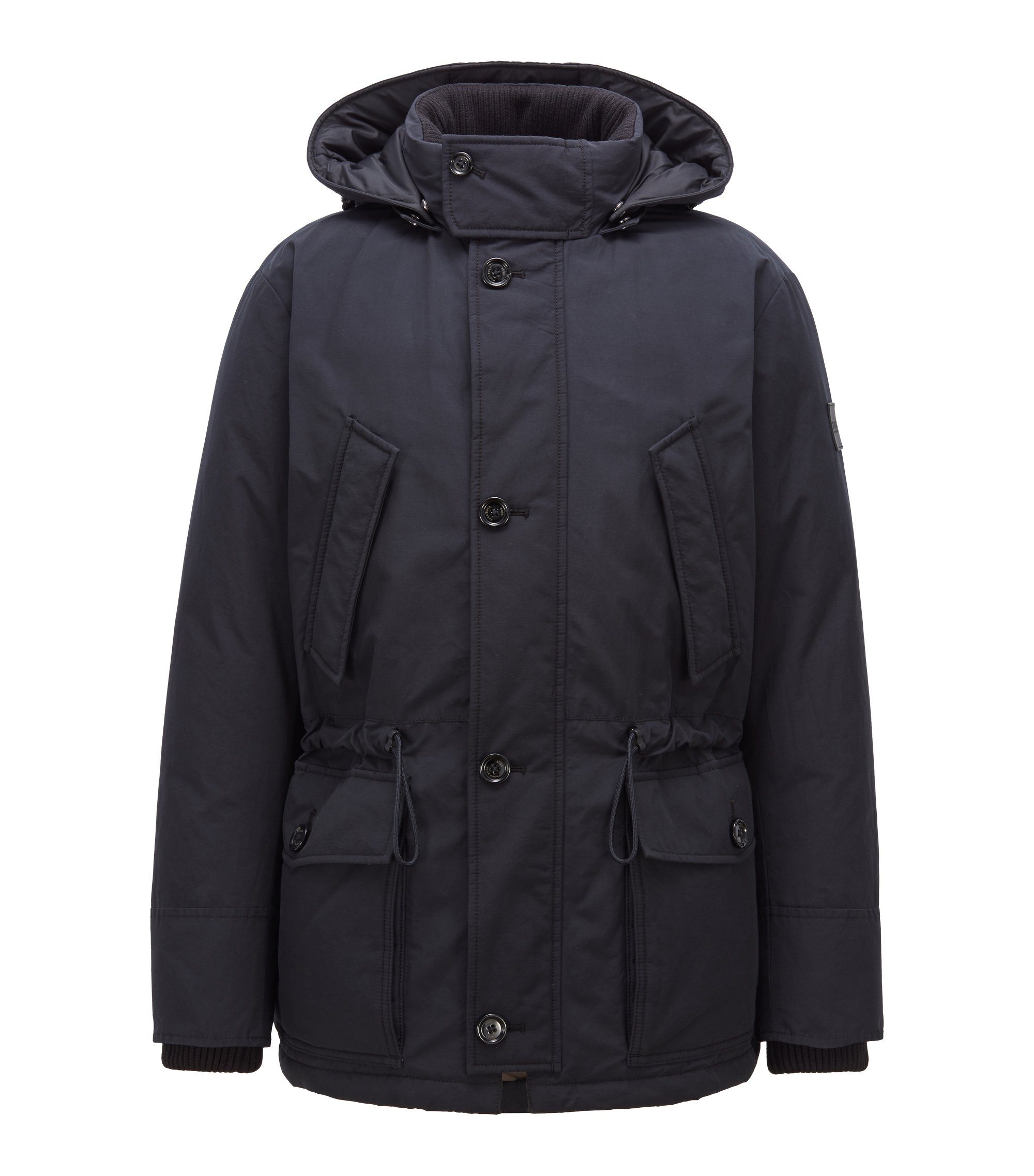 Relaxed-fit down jacket with waxed cotton-blend outer, Dark Blue