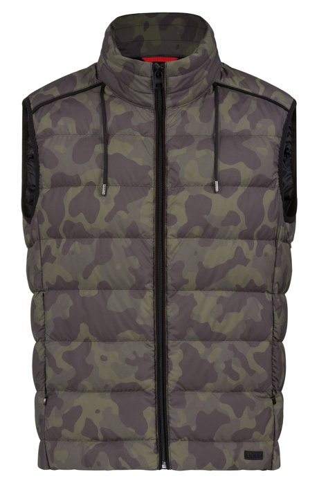2018 Newest Cheap Price Best Prices For Sale Stand-collar gilet with camouflage print and packable hood HUGO BOSS vAeUIQCtt