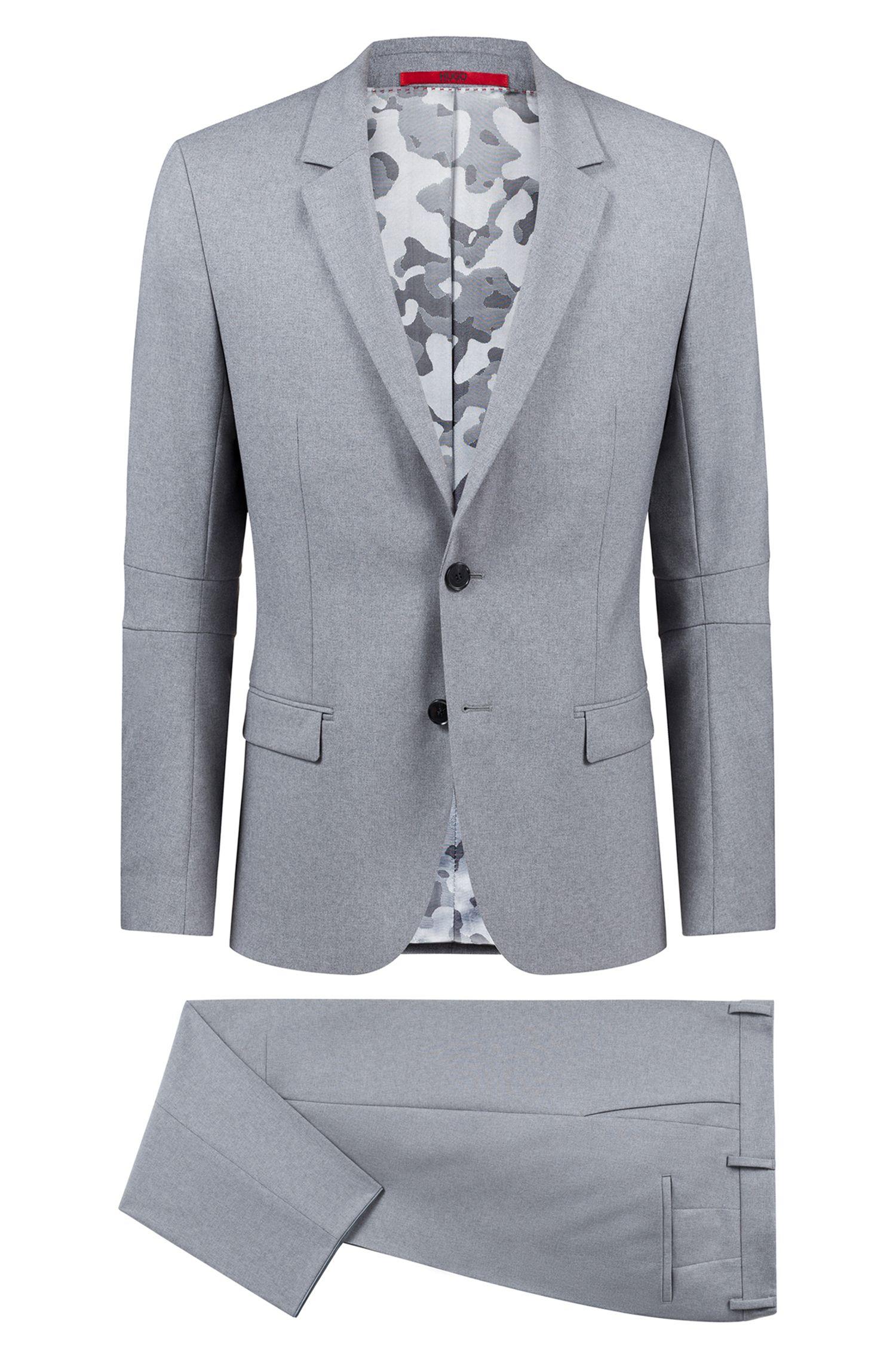 Extra Slim-Fit Anzug aus Schurwolle mit Camouflage-Innenfutter, Grau
