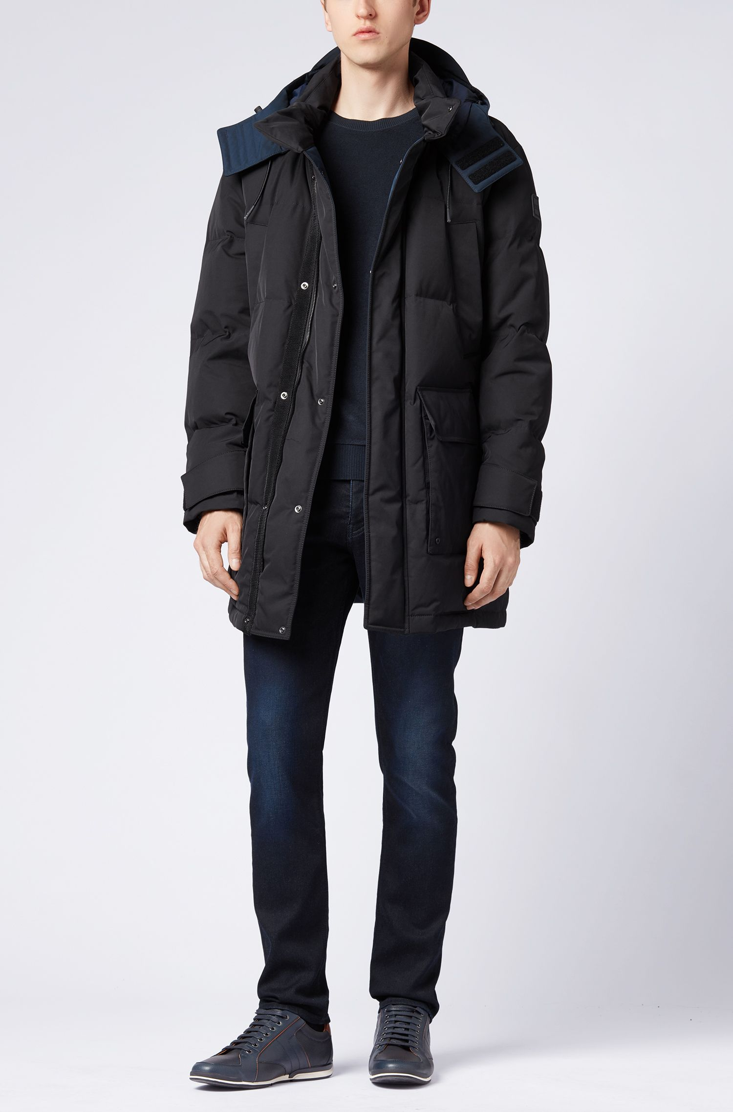 Water-repellent down parka with colour-block interior, Black
