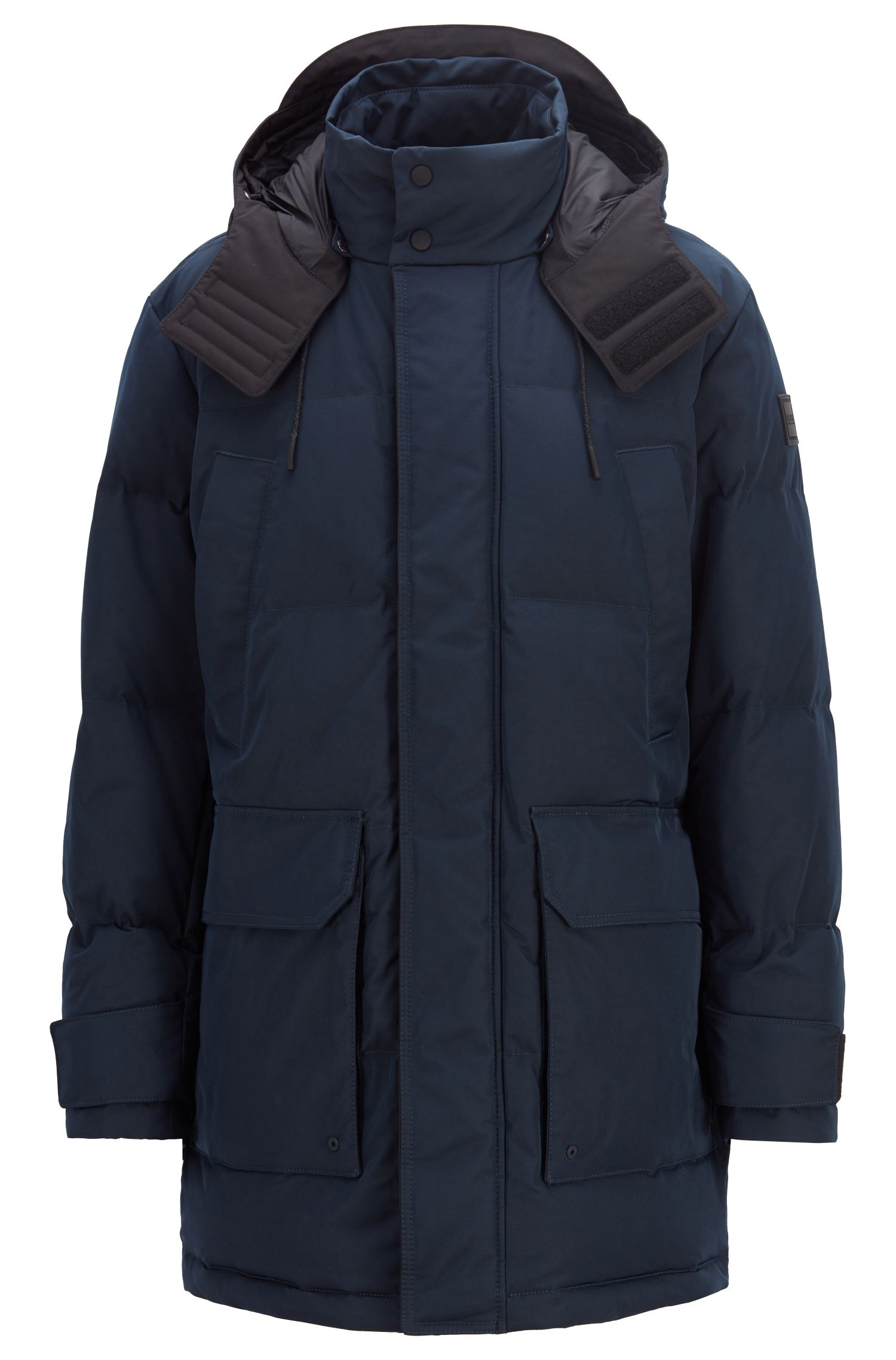 Water-repellent down parka with colour-block interior, Dark Blue