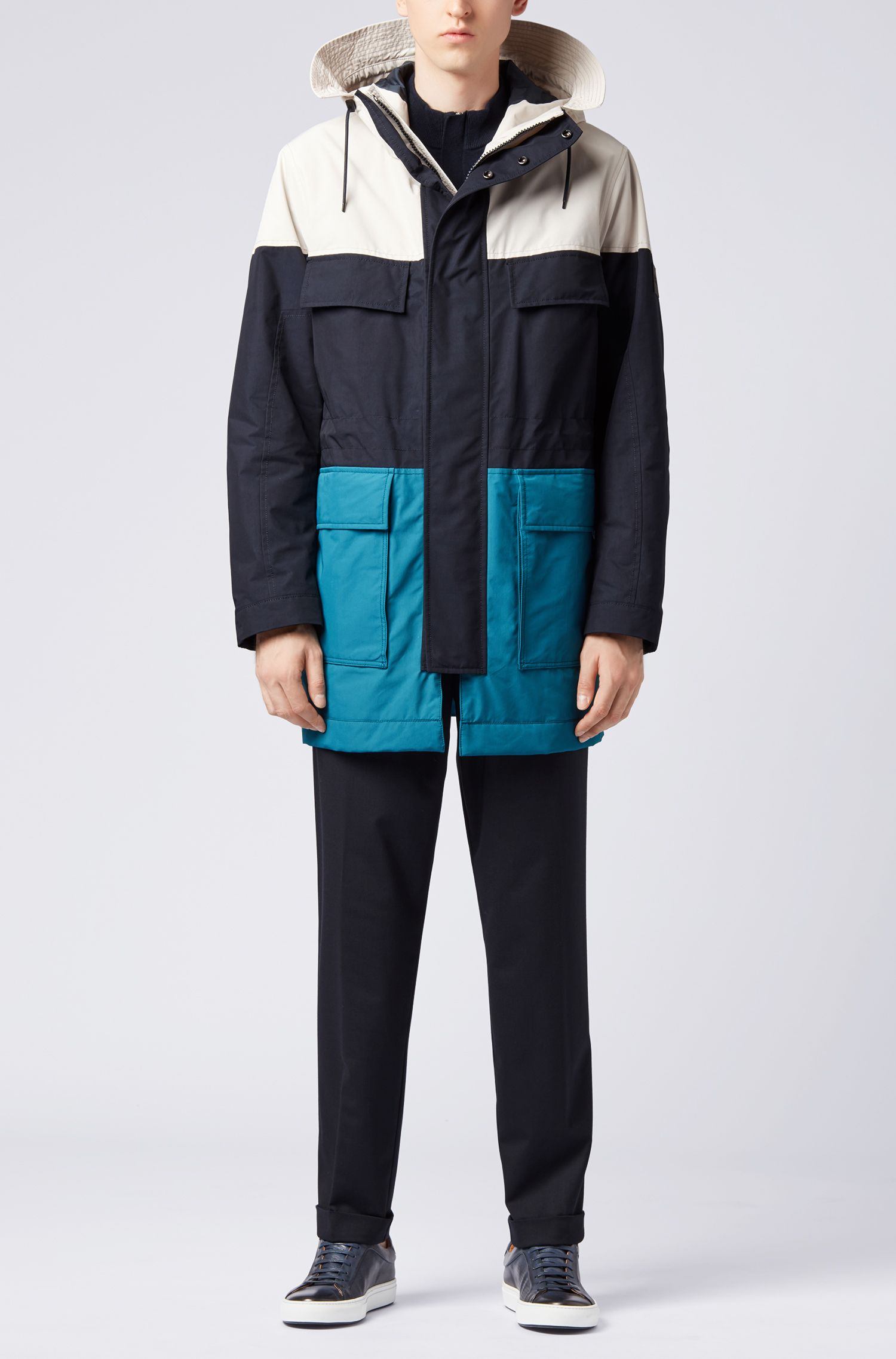 Softer Parka in Colour-Block-Optik, Dunkelblau