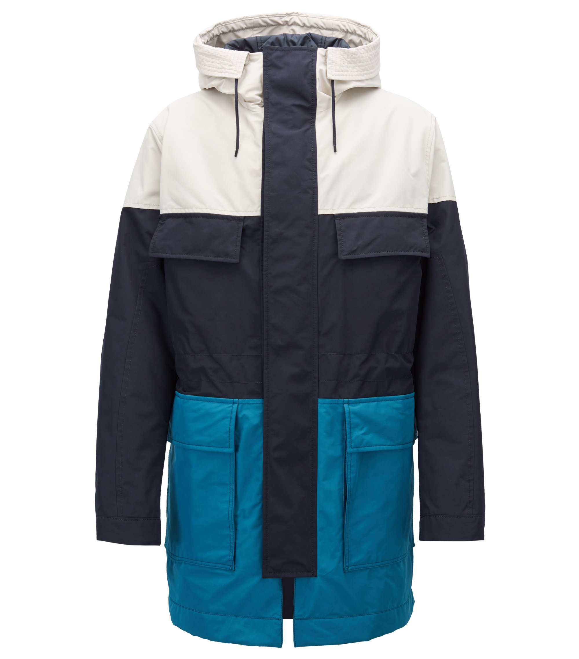Colour-block parka jacket in soft-touch technical fabric, Dark Blue