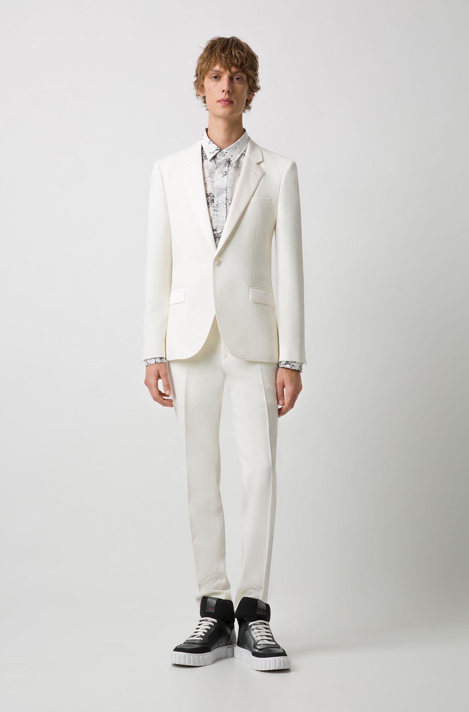 Extra Slim-Fit Anzug aus Schurwolle, Natur