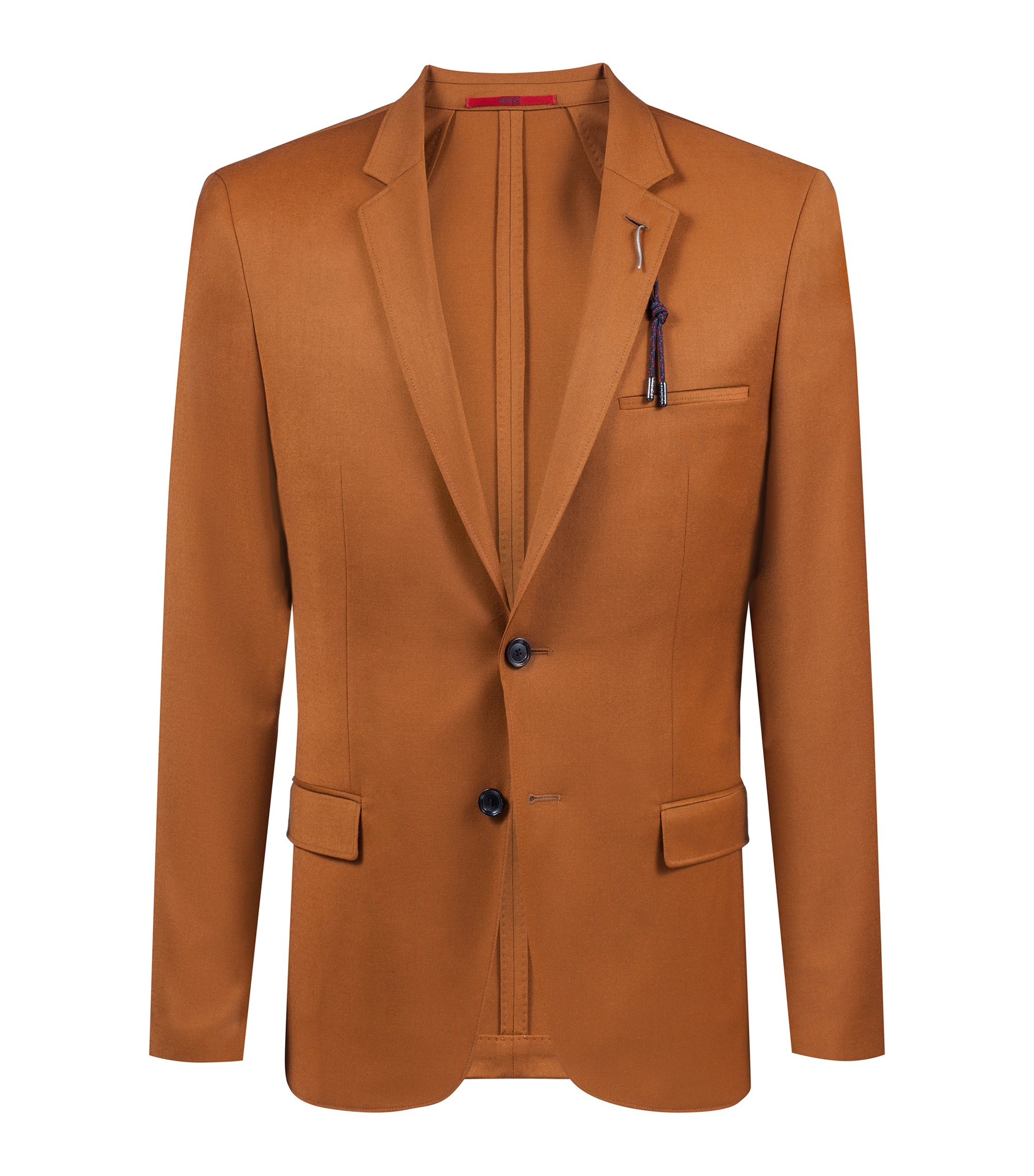 Extra-slim-fit virgin-wool blazer with buttonhole detail, Brown